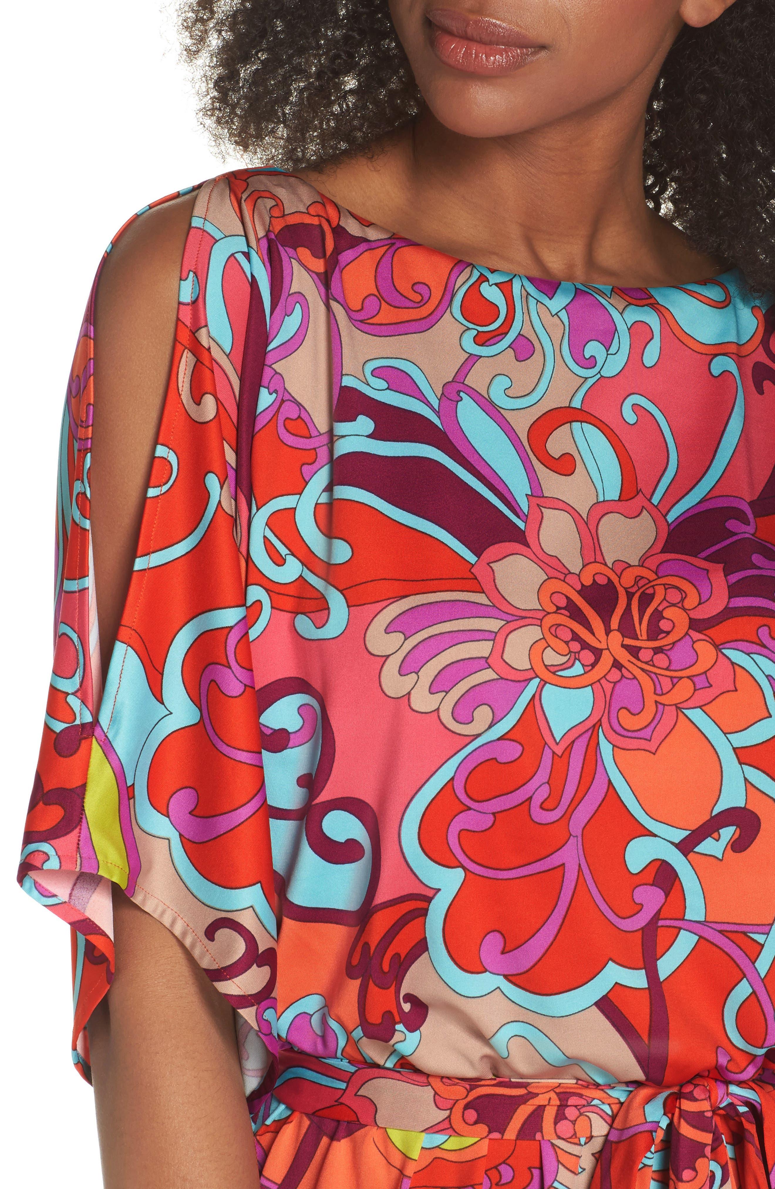 Bernice Print Dress,                             Alternate thumbnail 4, color,                             Coral Lily