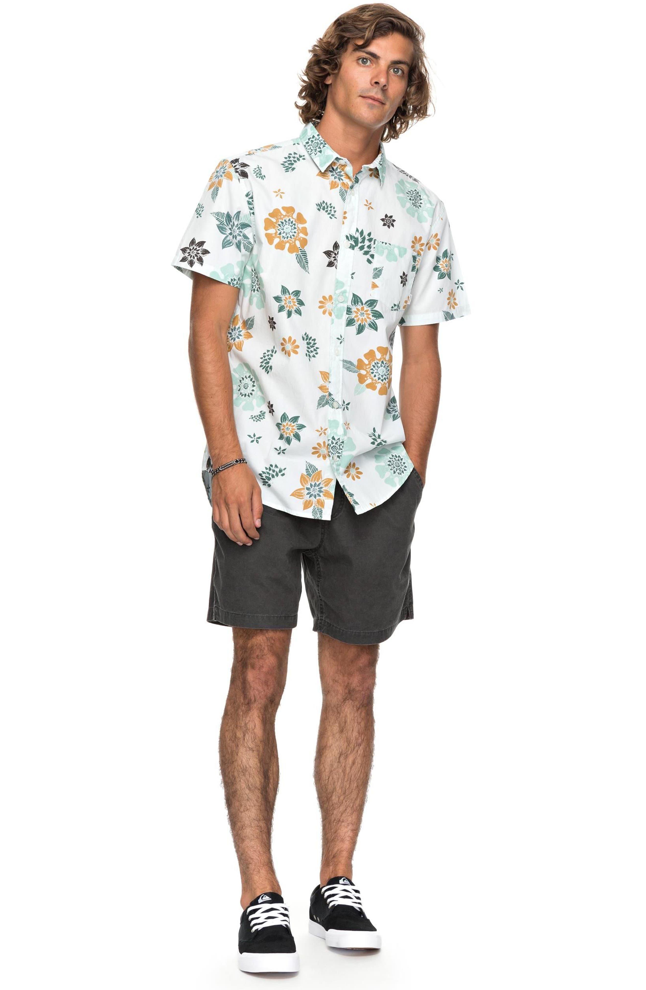 Sunset Floral Woven Shirt,                             Alternate thumbnail 3, color,                             White