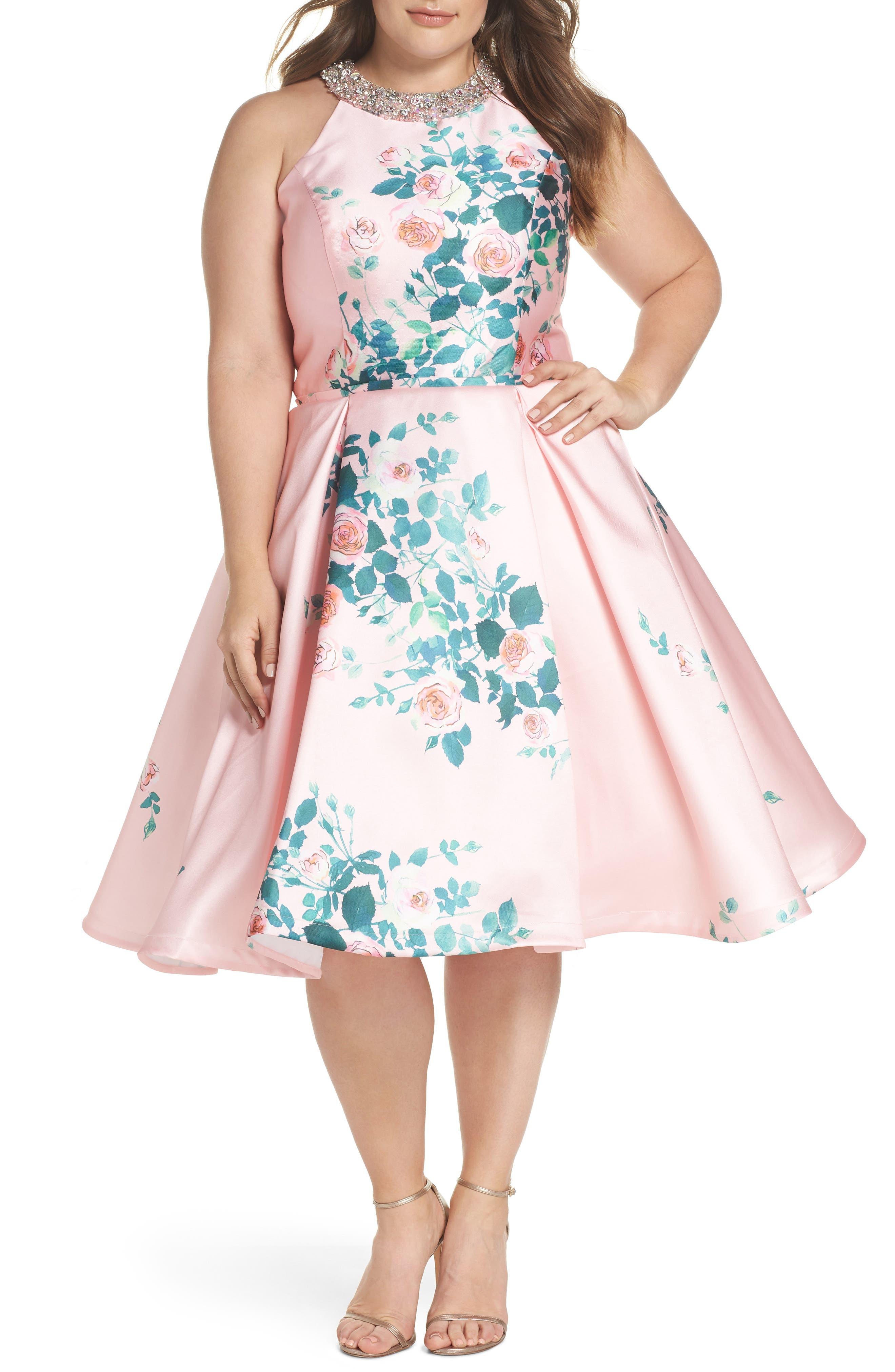 Floral Print Fit & Flare Dress,                             Main thumbnail 1, color,                             Pink Rose