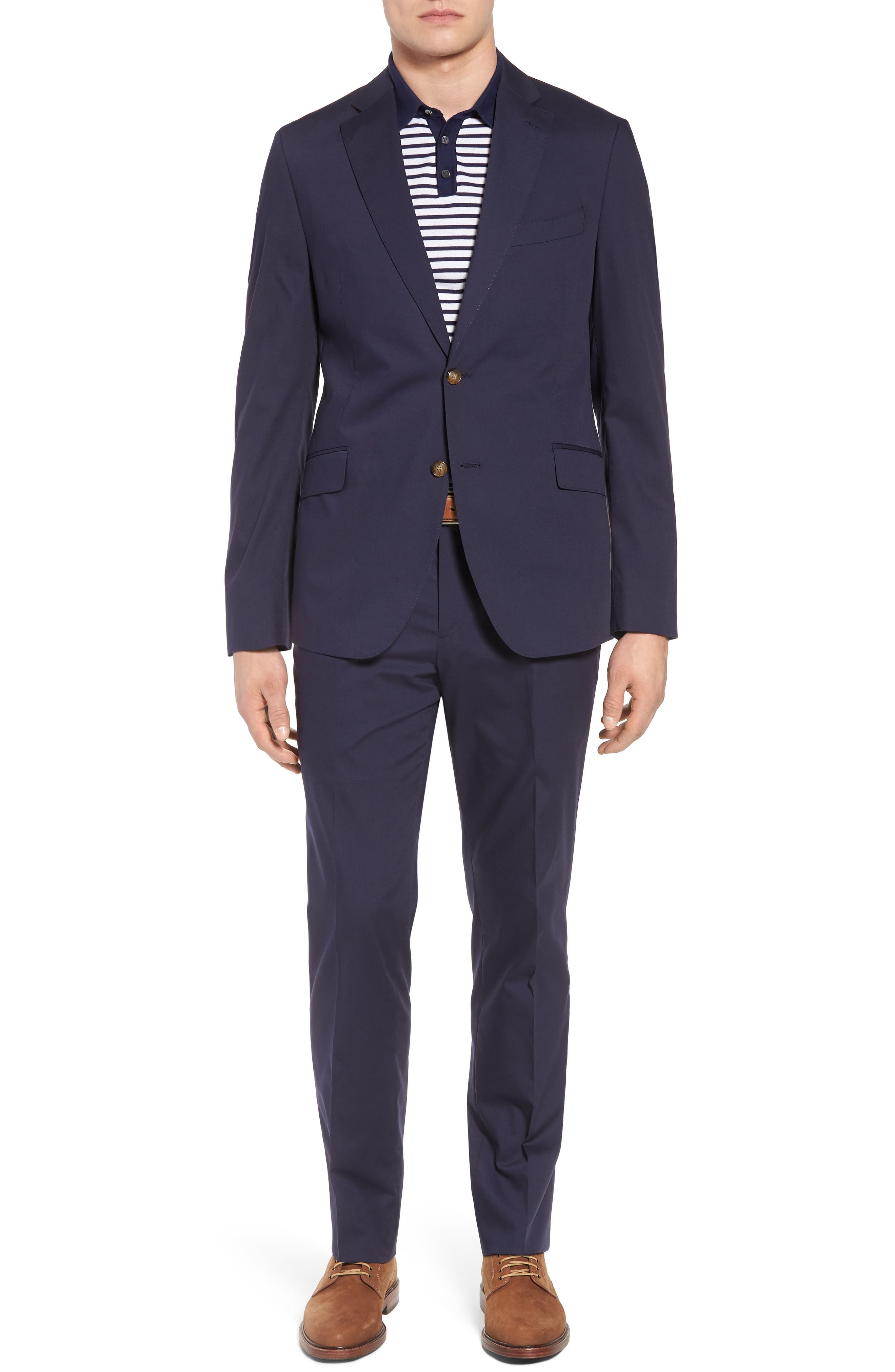 Irons AIM Classic Fit Solid Cotton Blend Suit,                         Main,                         color, Navy