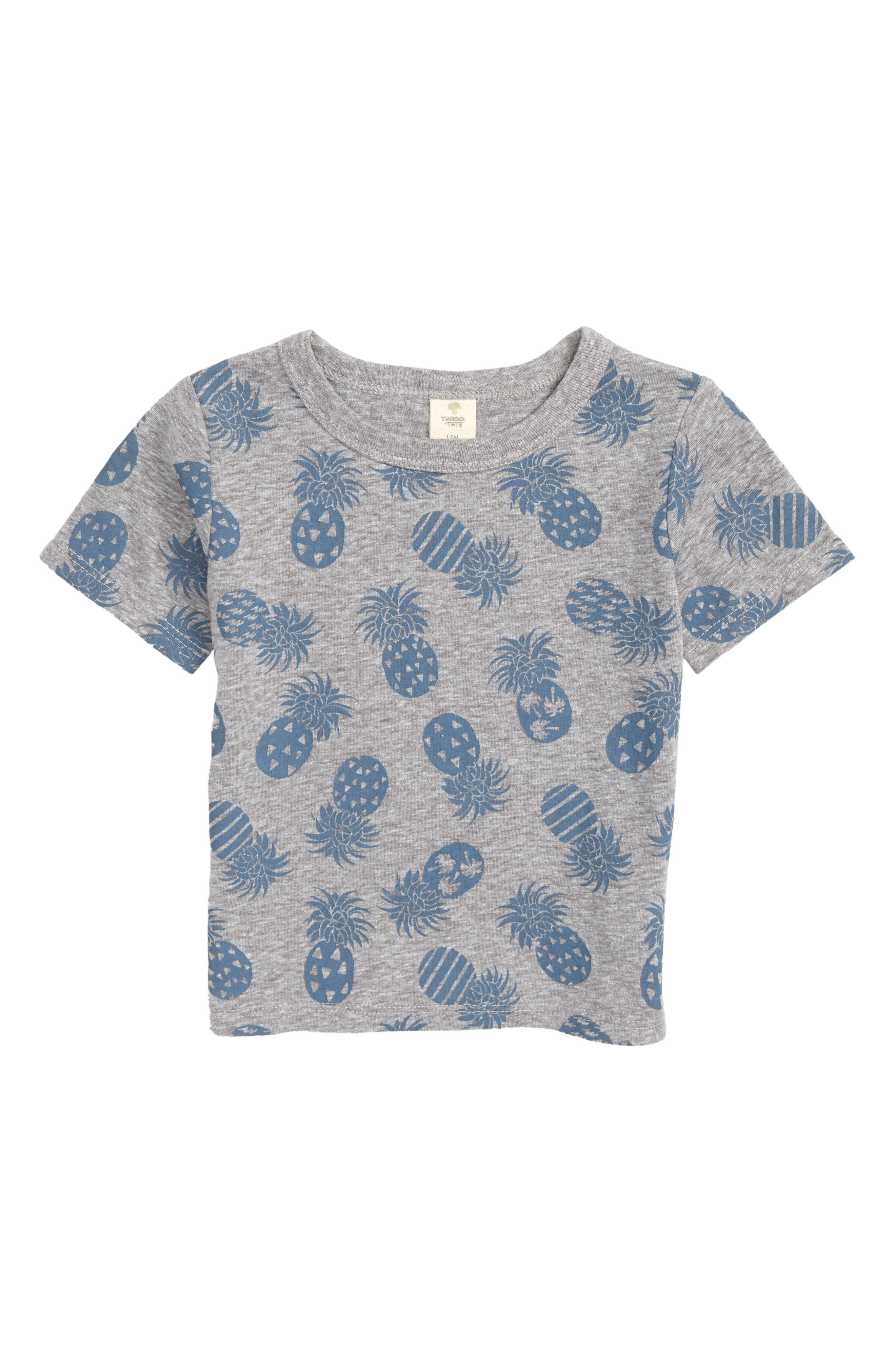 Print T-Shirt,                             Main thumbnail 1, color,                             Grey Medium Heather Pineapples