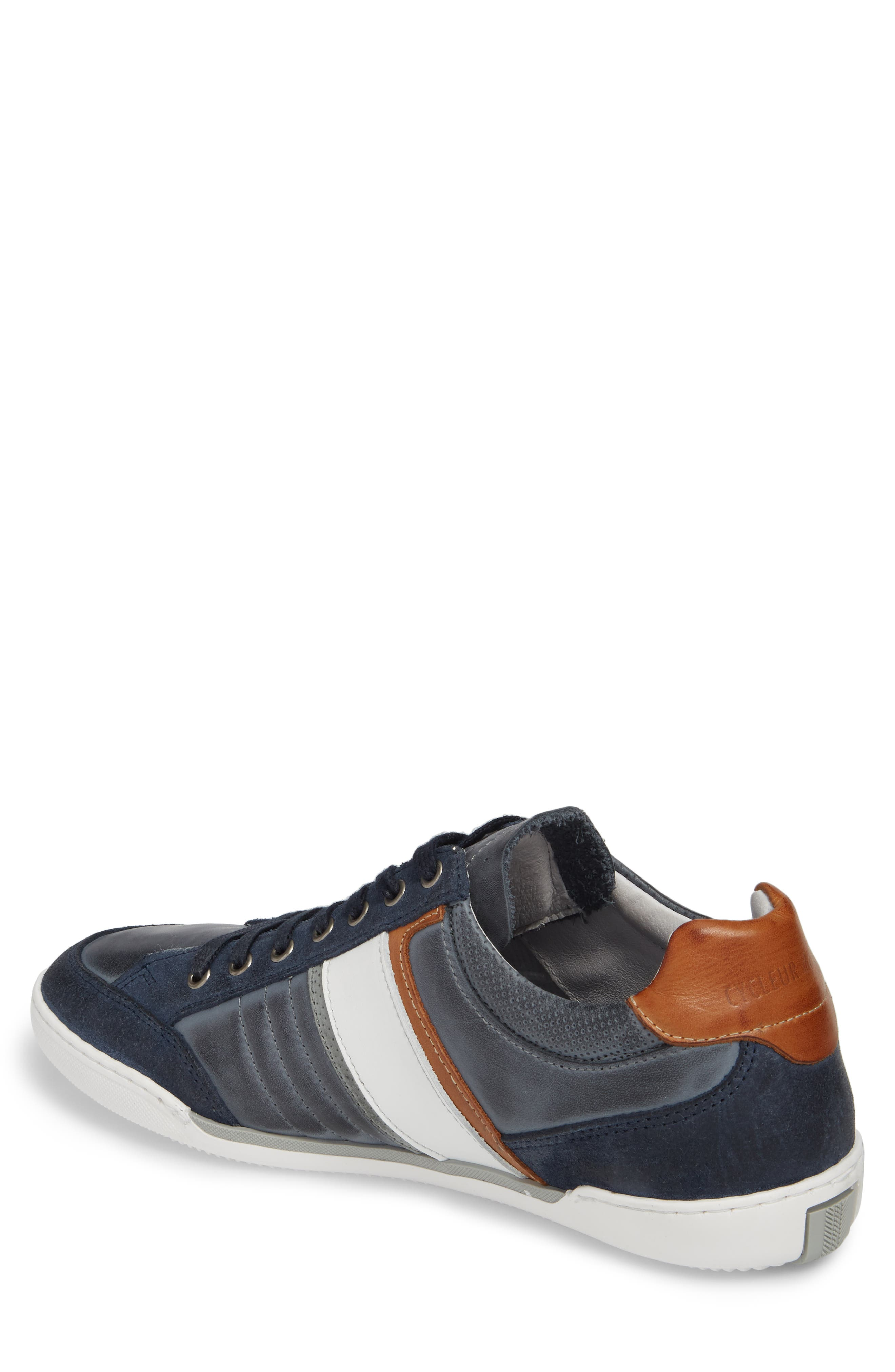 Solo Low Top Sneaker,                             Alternate thumbnail 2, color,                             Denim/ White/ Cognac Leather