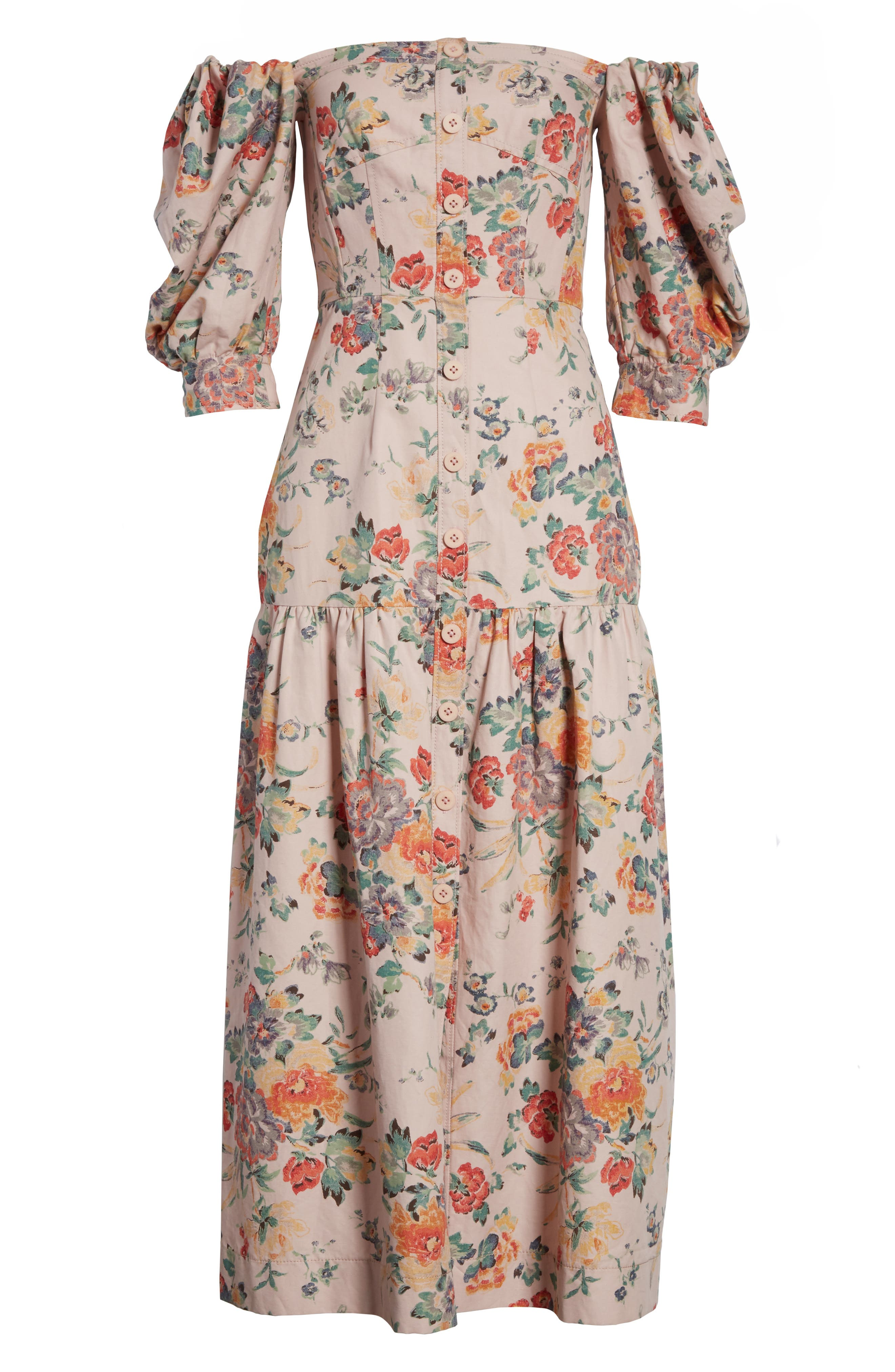 Marlena Off the Shoulder Floral Midi Dress,                             Alternate thumbnail 6, color,                             Dusty Rose Combo