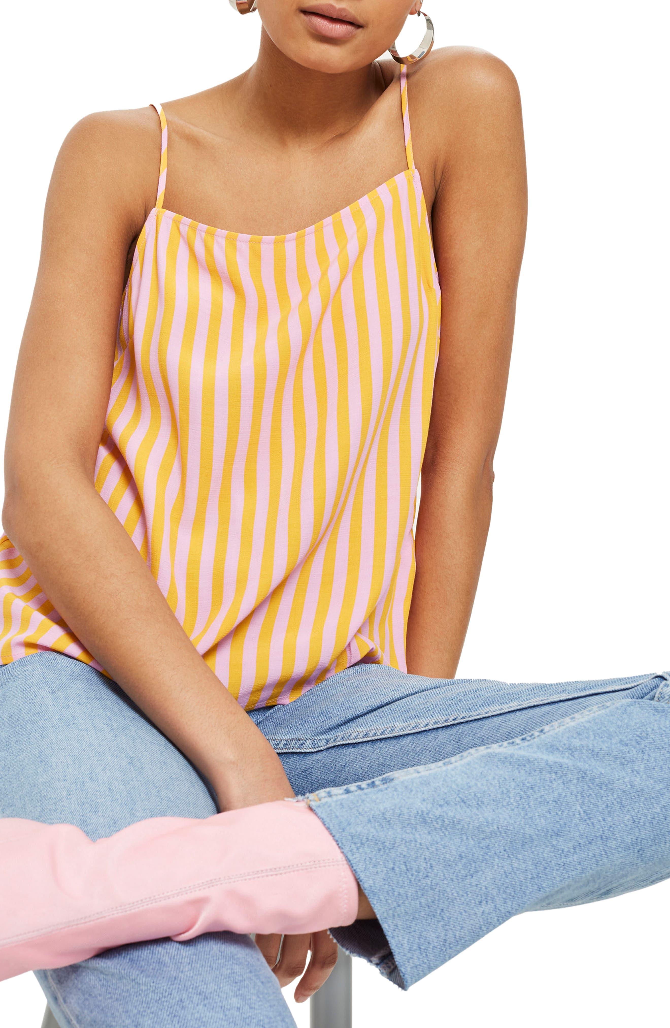 Fruit Salad Stripe Camisole Top,                             Main thumbnail 1, color,                             Pink