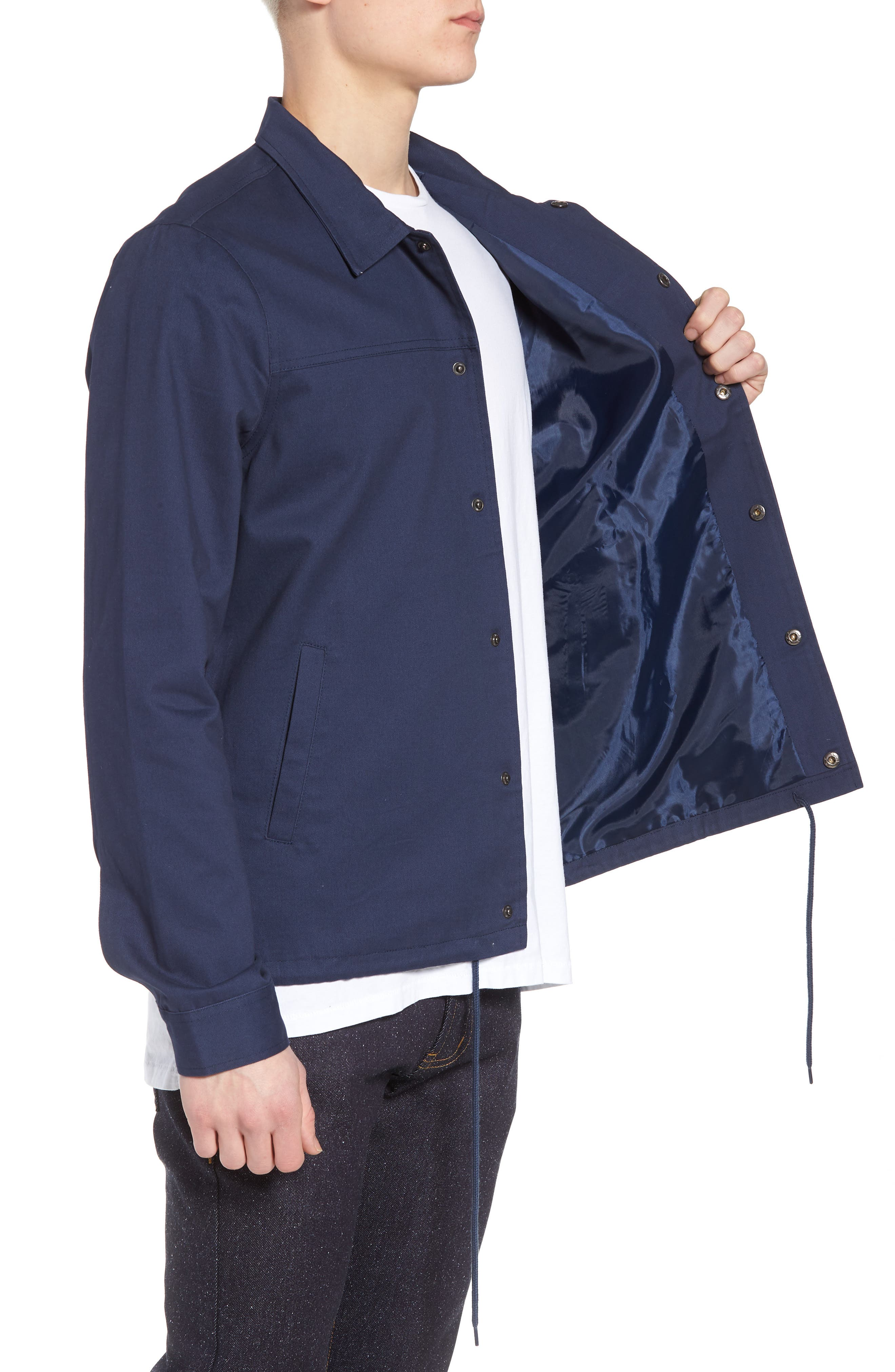Snap Front Coach's Jacket,                             Alternate thumbnail 3, color,                             Navy Iris