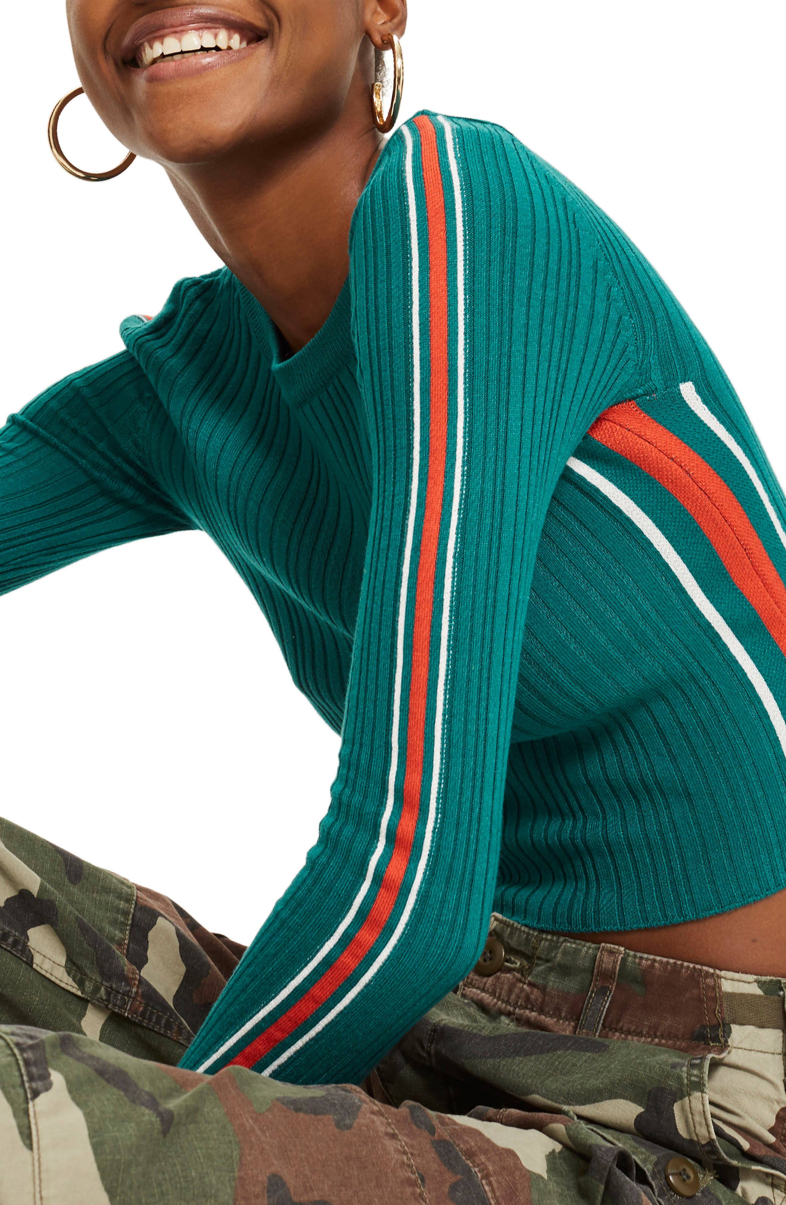 Sporty Side Stripe Top,                             Alternate thumbnail 3, color,                             Teal