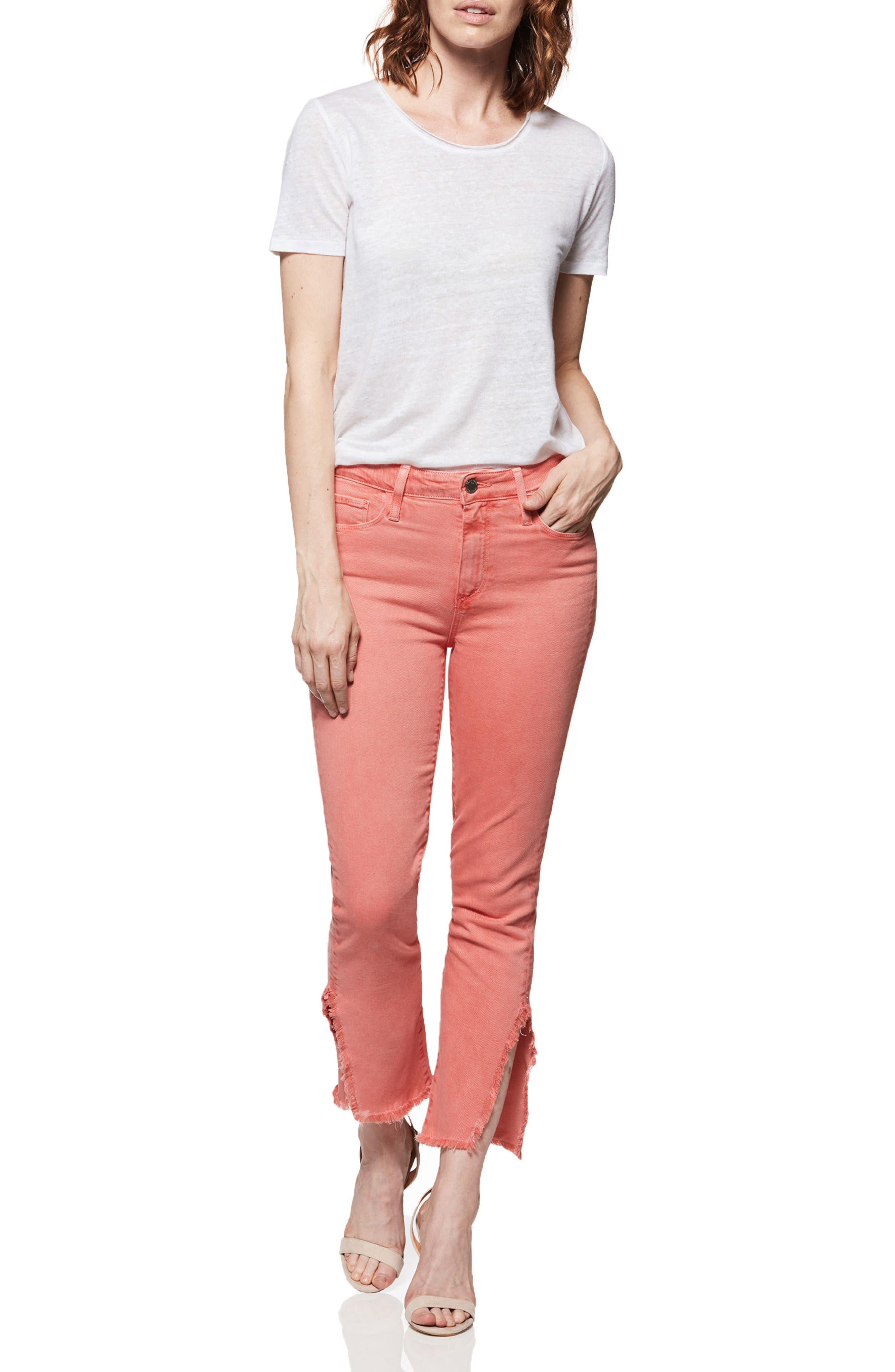 Hoxton High Waist Slit Hem Ankle Straight Jeans,                             Alternate thumbnail 3, color,                             Vintage Coral Reef