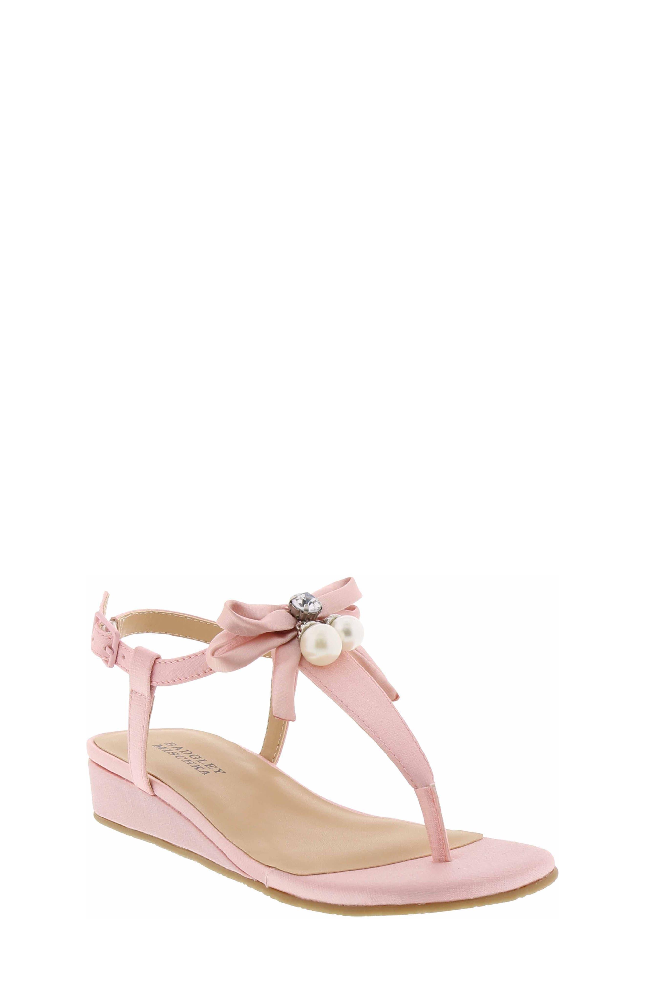 Talia Embellished Bow Sandal,                             Main thumbnail 1, color,                             Light Pink