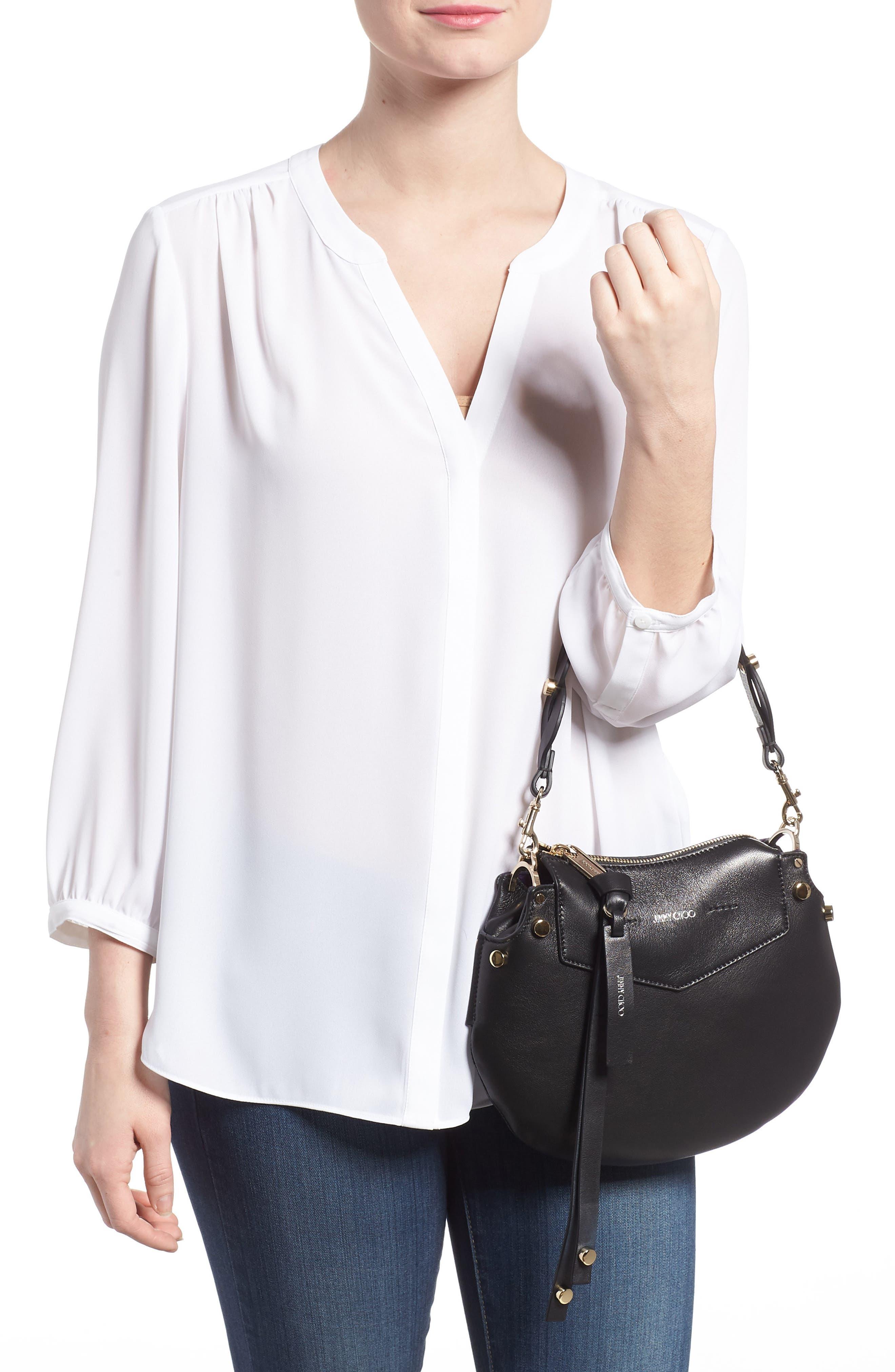 Mini Artie Leather Crossbody Bag,                             Alternate thumbnail 2, color,                             Black