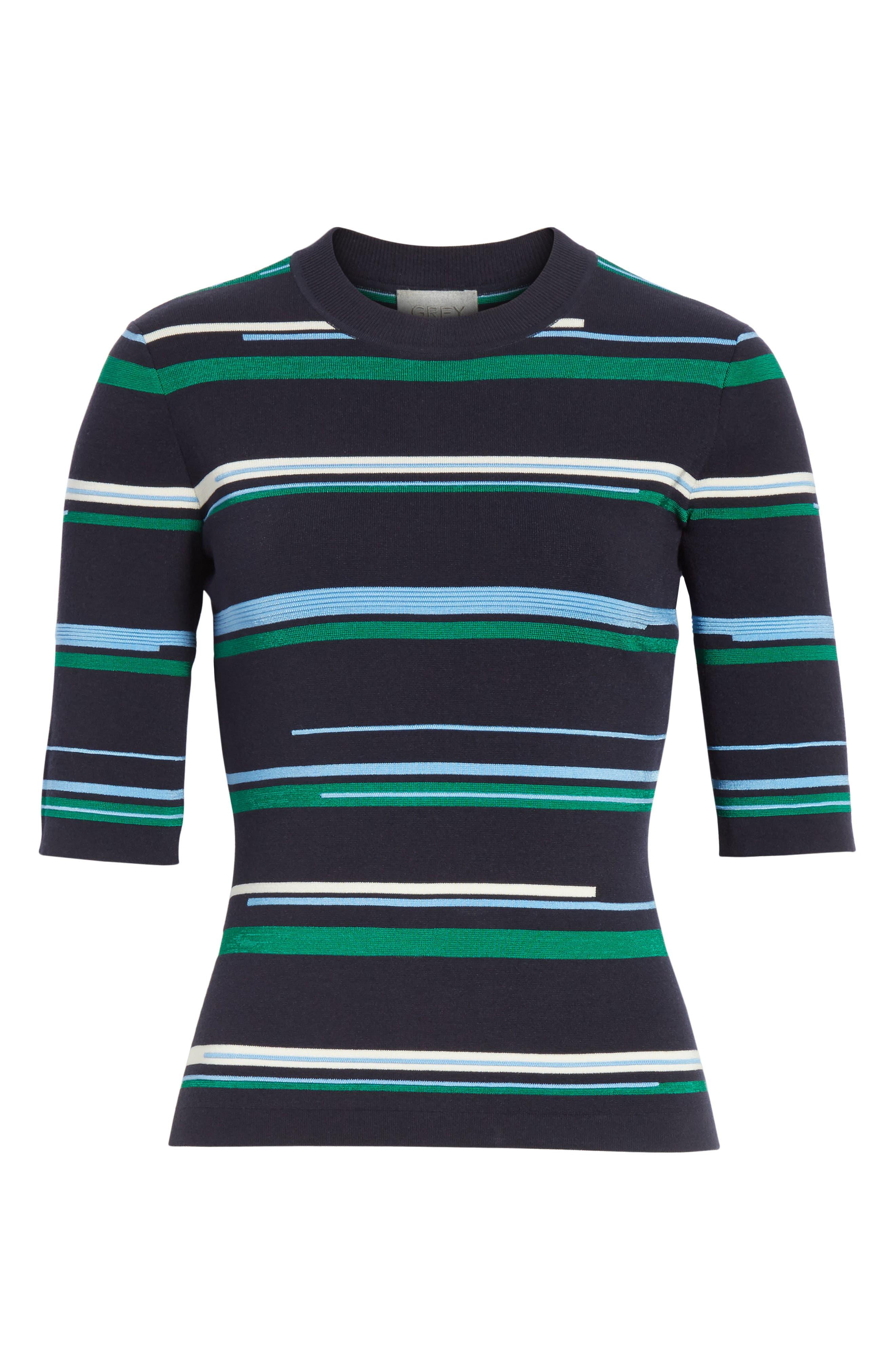 Stripe Knit Top,                             Alternate thumbnail 6, color,                             Midnight Multi