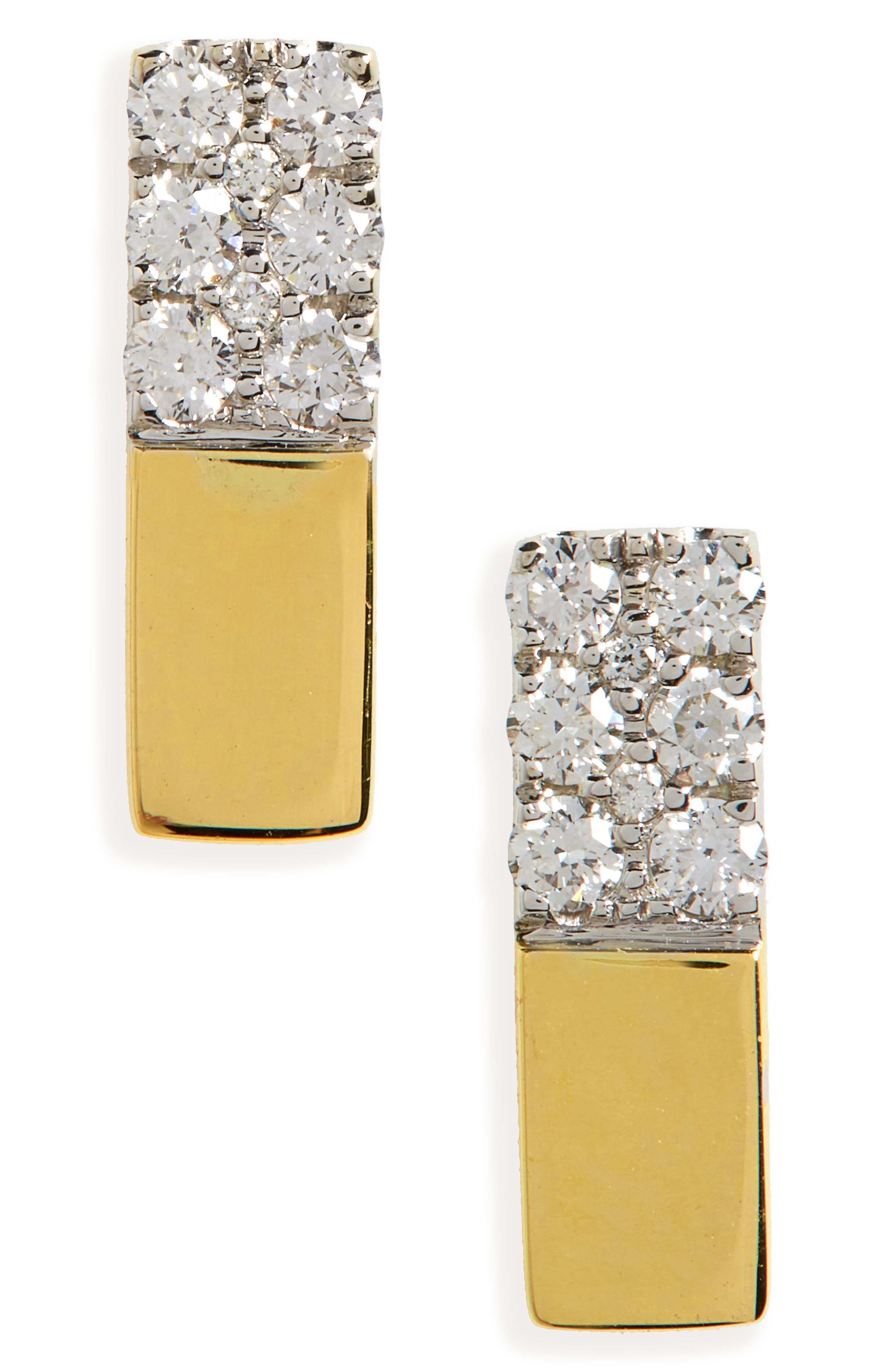 Kiera Diamond & 18K Gold Bar Stud Earrings,                             Main thumbnail 1, color,                             Yellow Gold/ White Gold