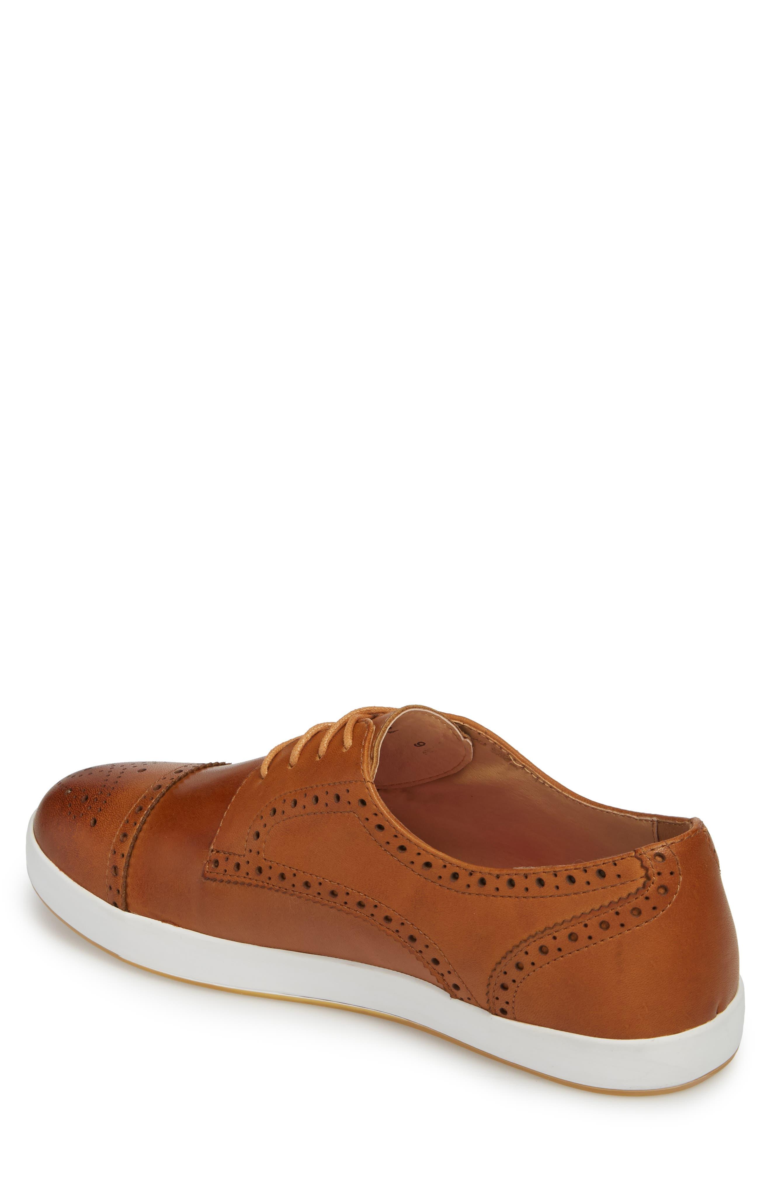 Dunnet Cap Toe Sneaker,                             Alternate thumbnail 2, color,                             Cognac Leather
