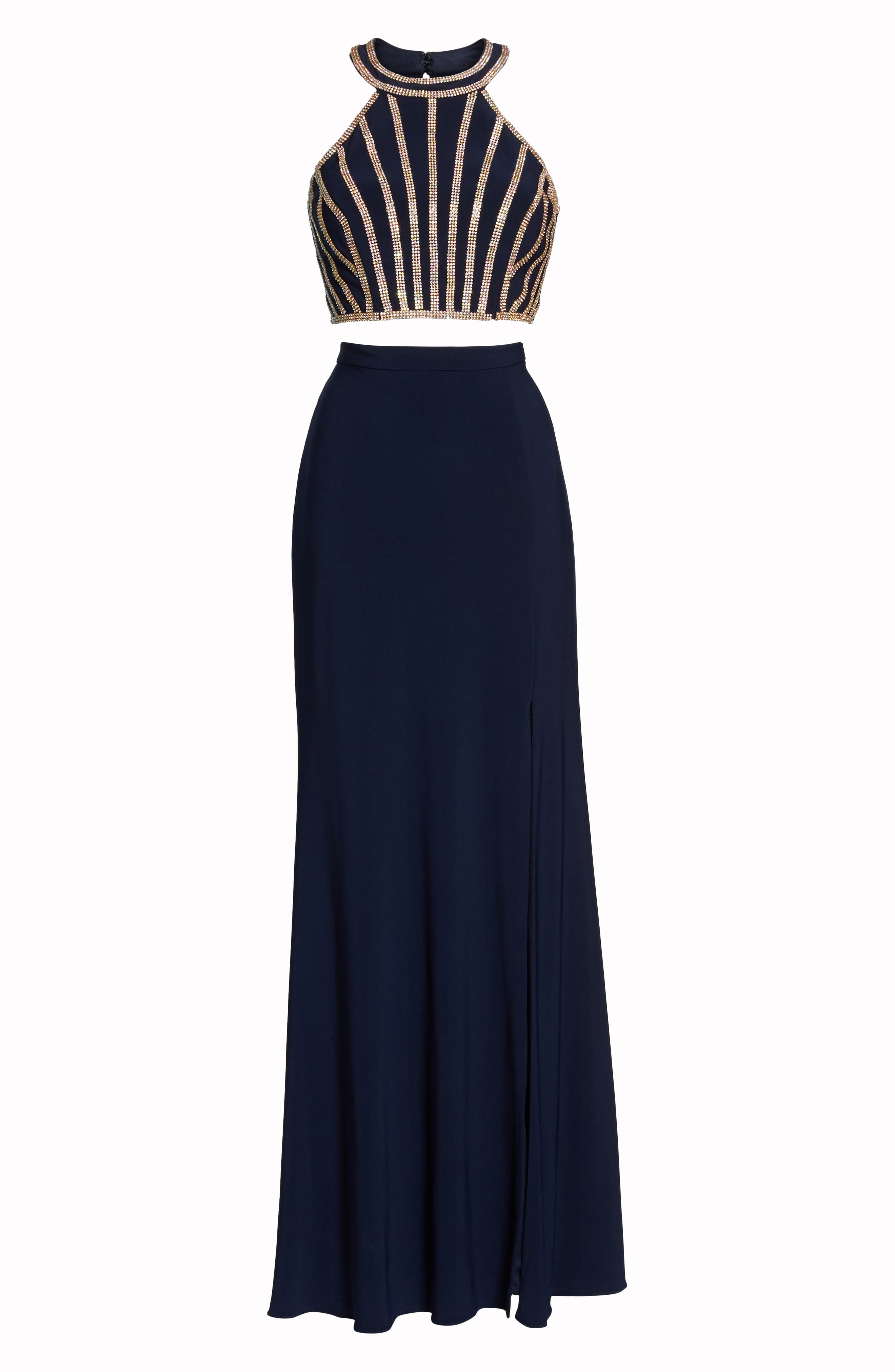 Beaded Top Two-Piece Dress,                             Alternate thumbnail 6, color,                             Navy/ Gold