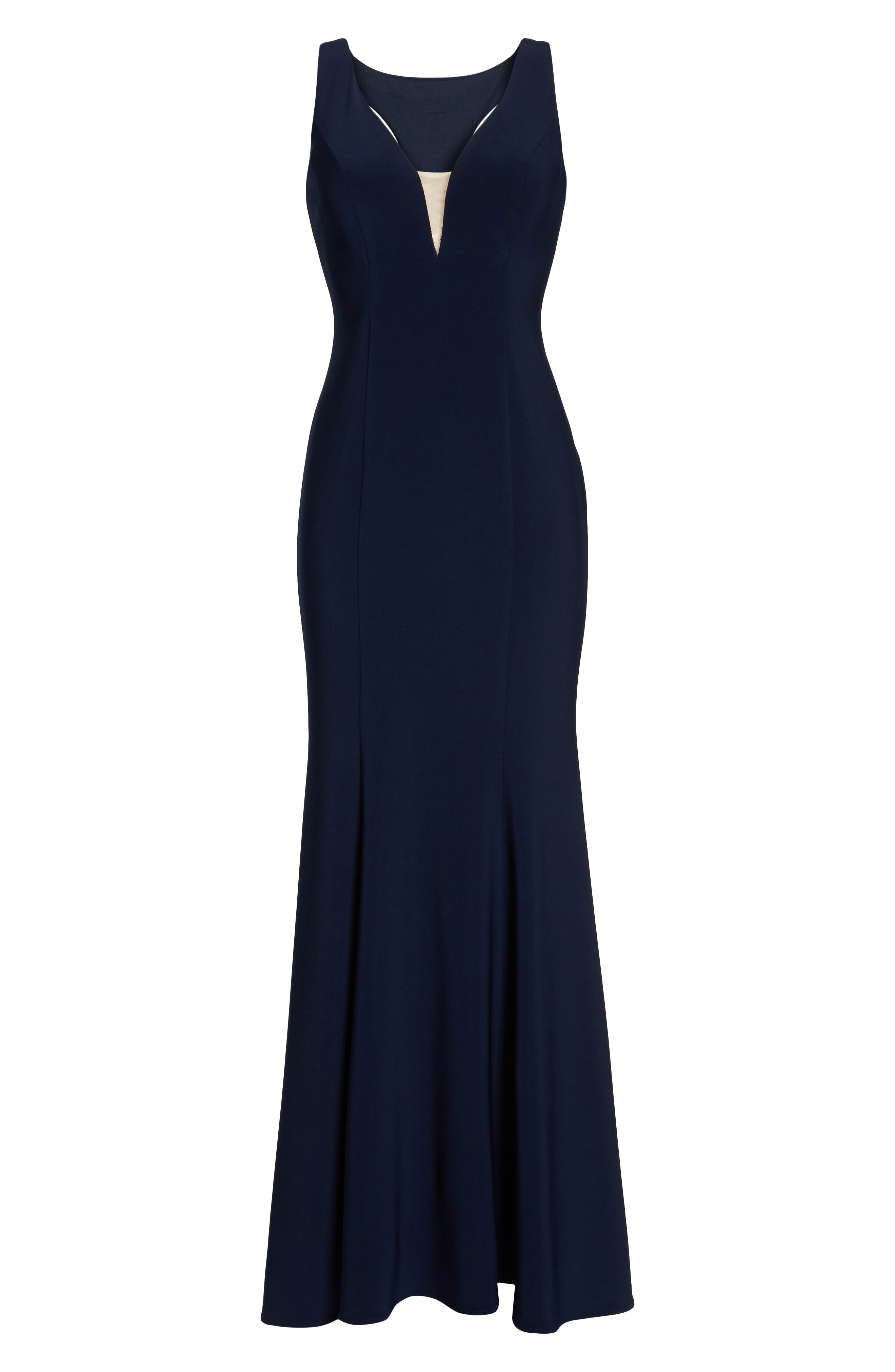 Deep V-Neck Trumpet Gown,                             Alternate thumbnail 7, color,                             Navy