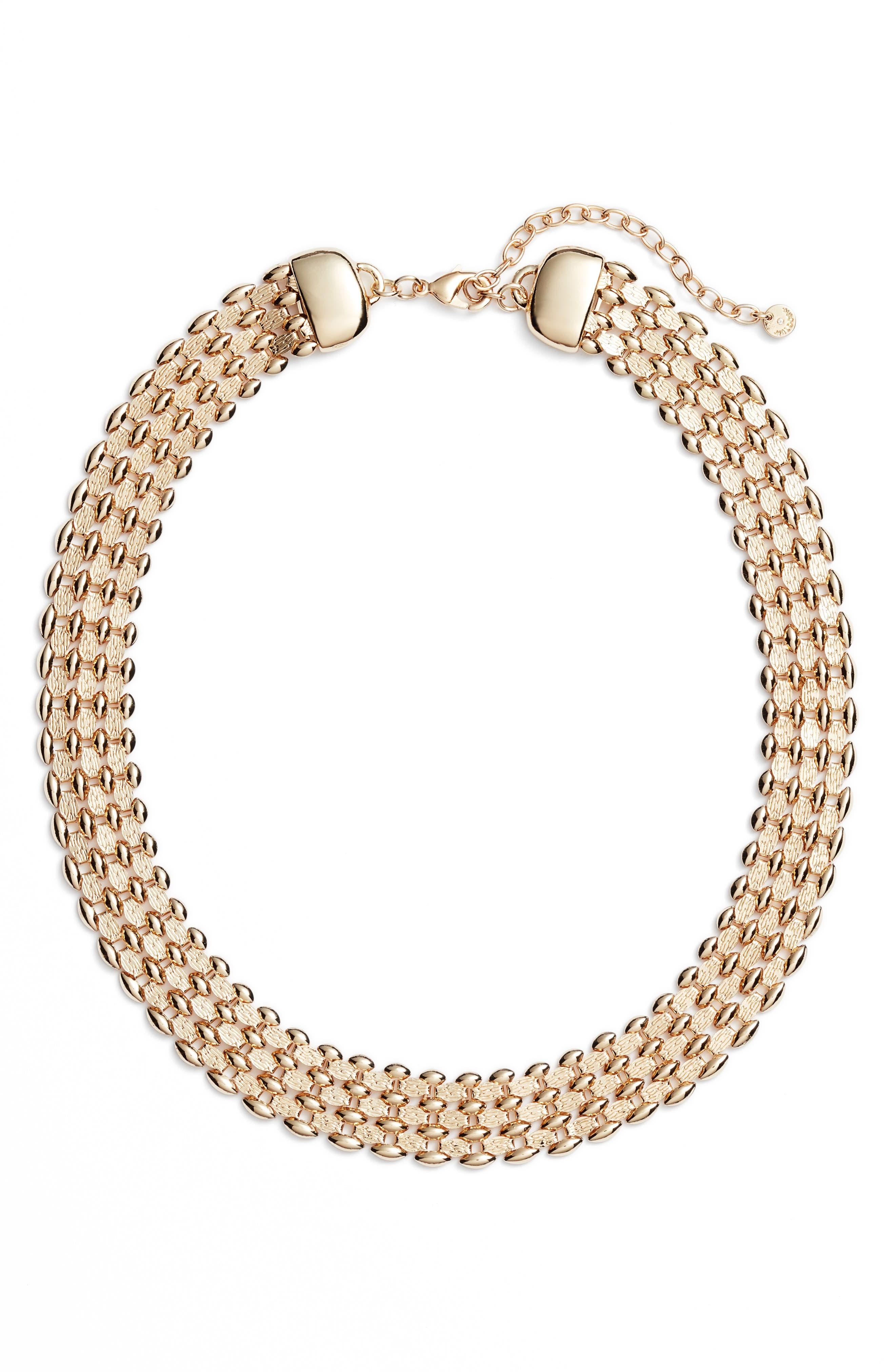 Glimmer Chain Collar,                         Main,                         color, Gold