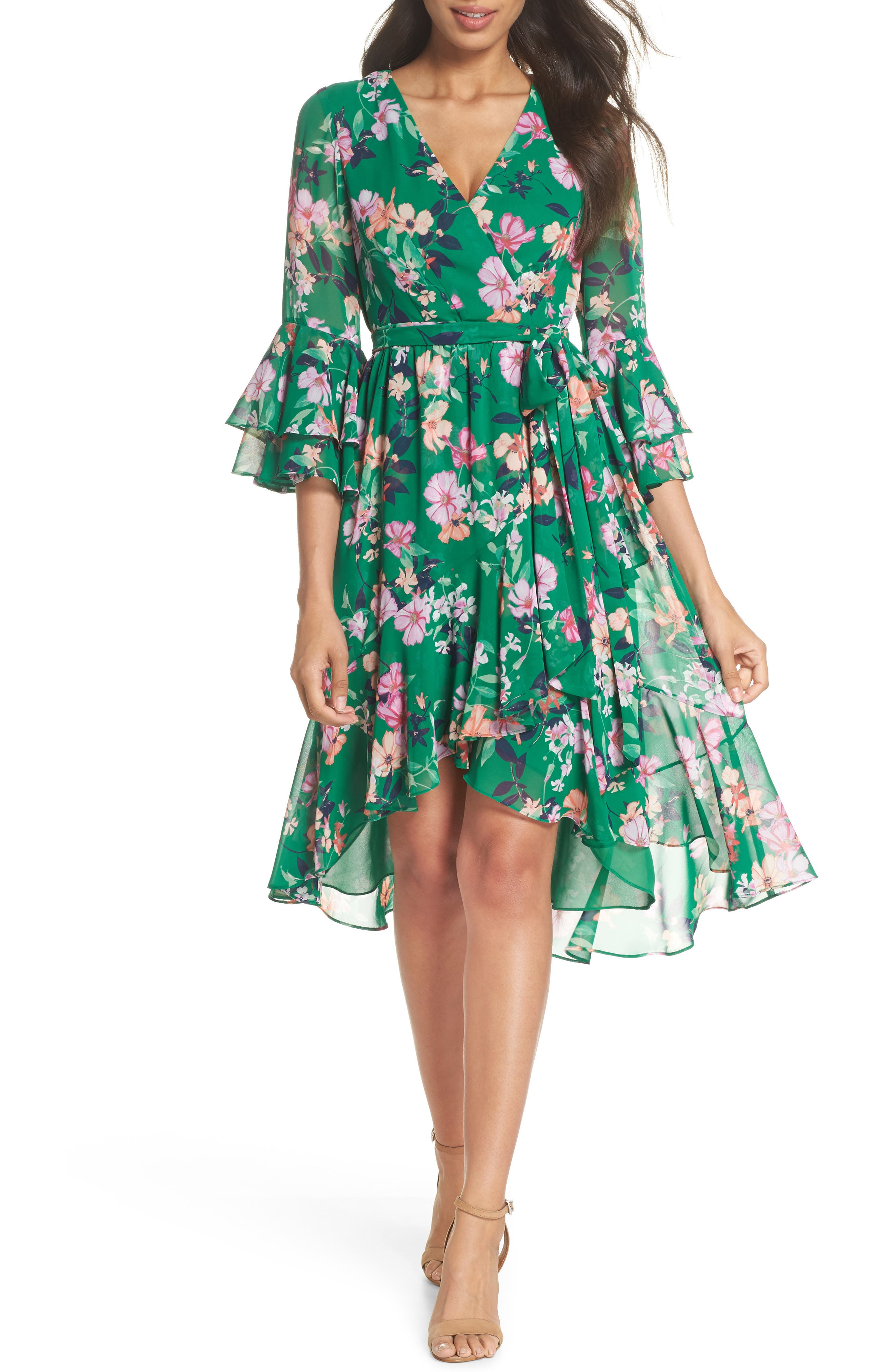 Double Bell Sleeve Faux Wrap Dress,                         Main,                         color, Green