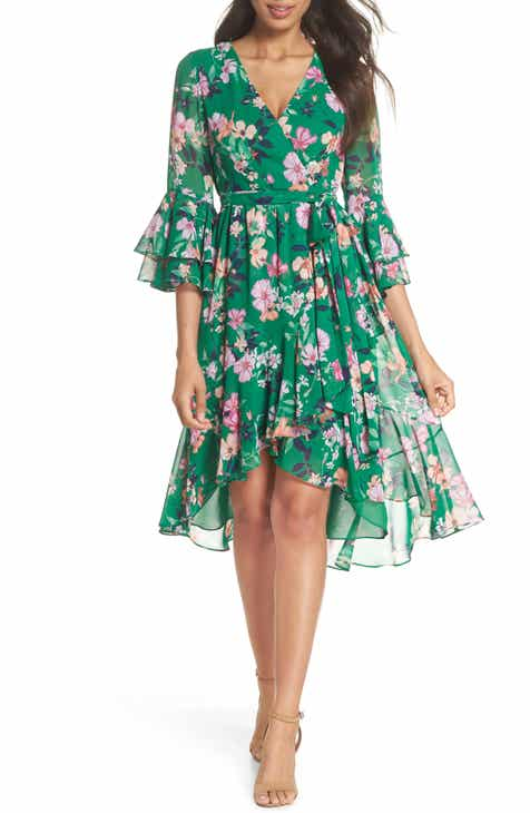 9744d5f8 Eliza J Ruffle Sleeve Floral Faux Wrap Dress (Regular & Petite)