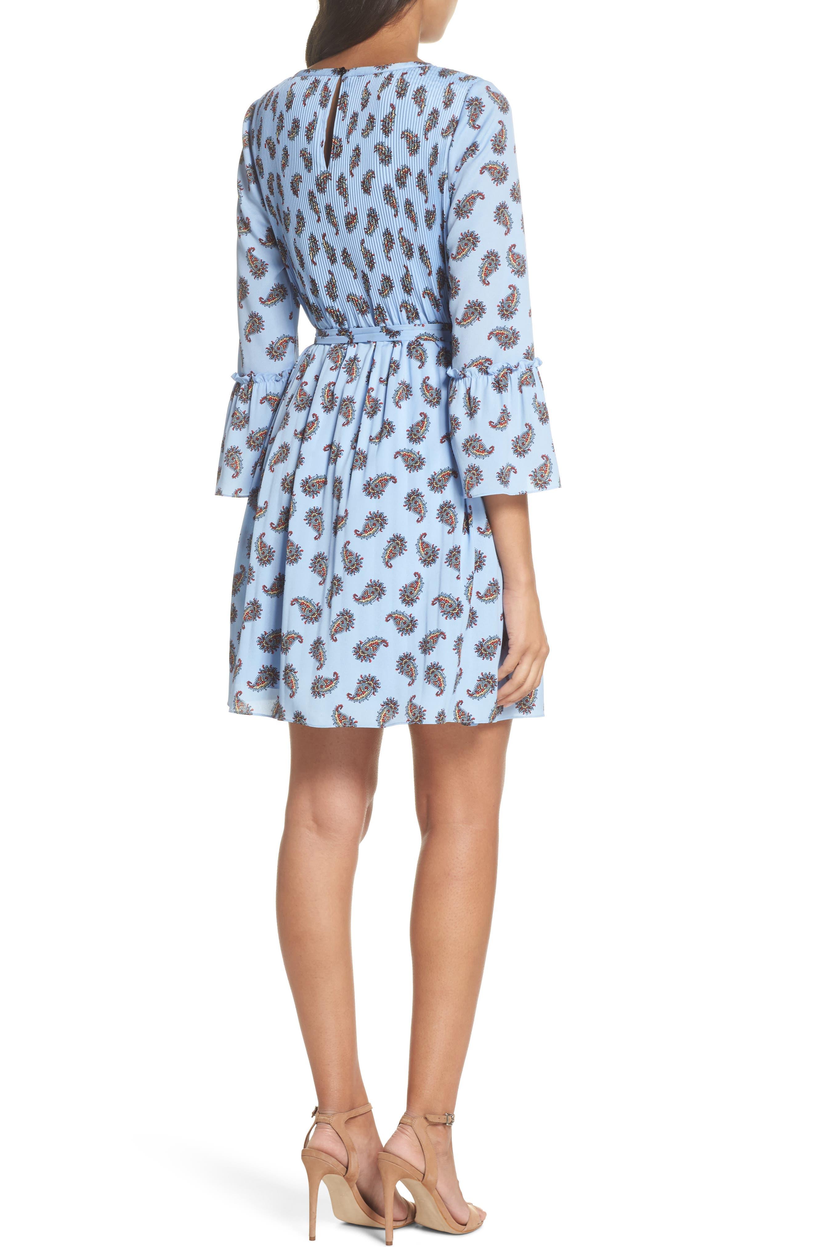 Orli Paisley Print Bell Sleeve Dress,                             Alternate thumbnail 2, color,                             Blue Multi