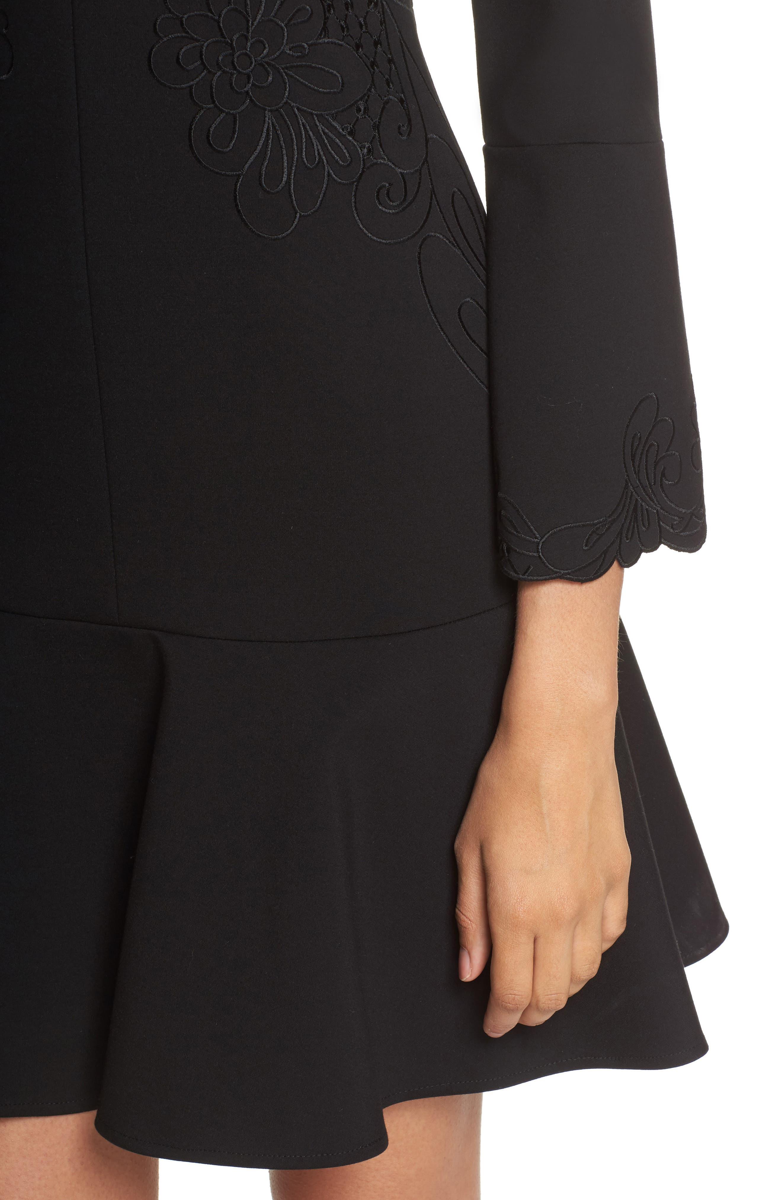Devyn Embroidered Fit & Flare Dress,                             Alternate thumbnail 4, color,                             Black