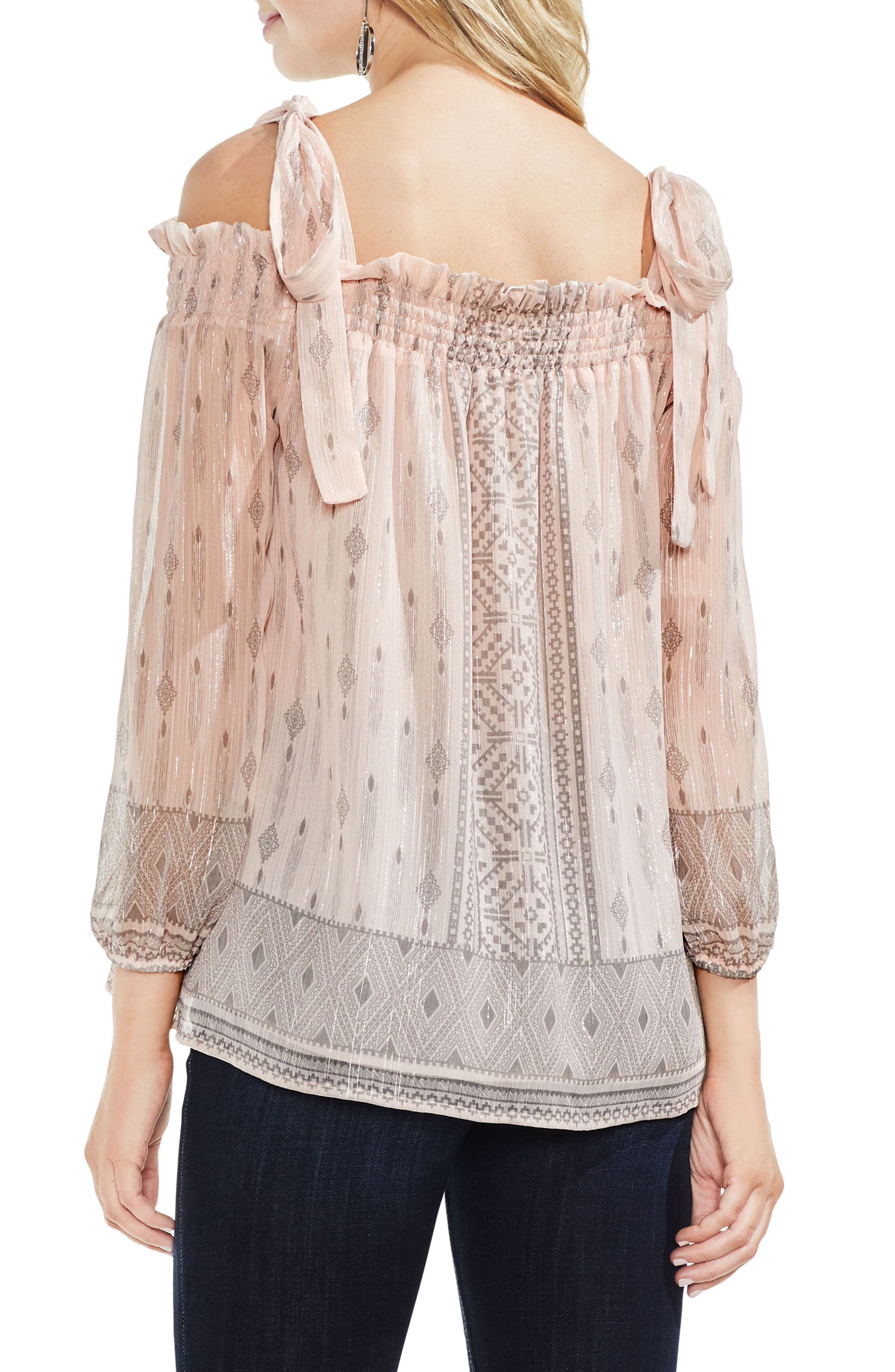 Delicate Diamond Geo Cold Shoulder Top,                             Alternate thumbnail 2, color,                             French Peach