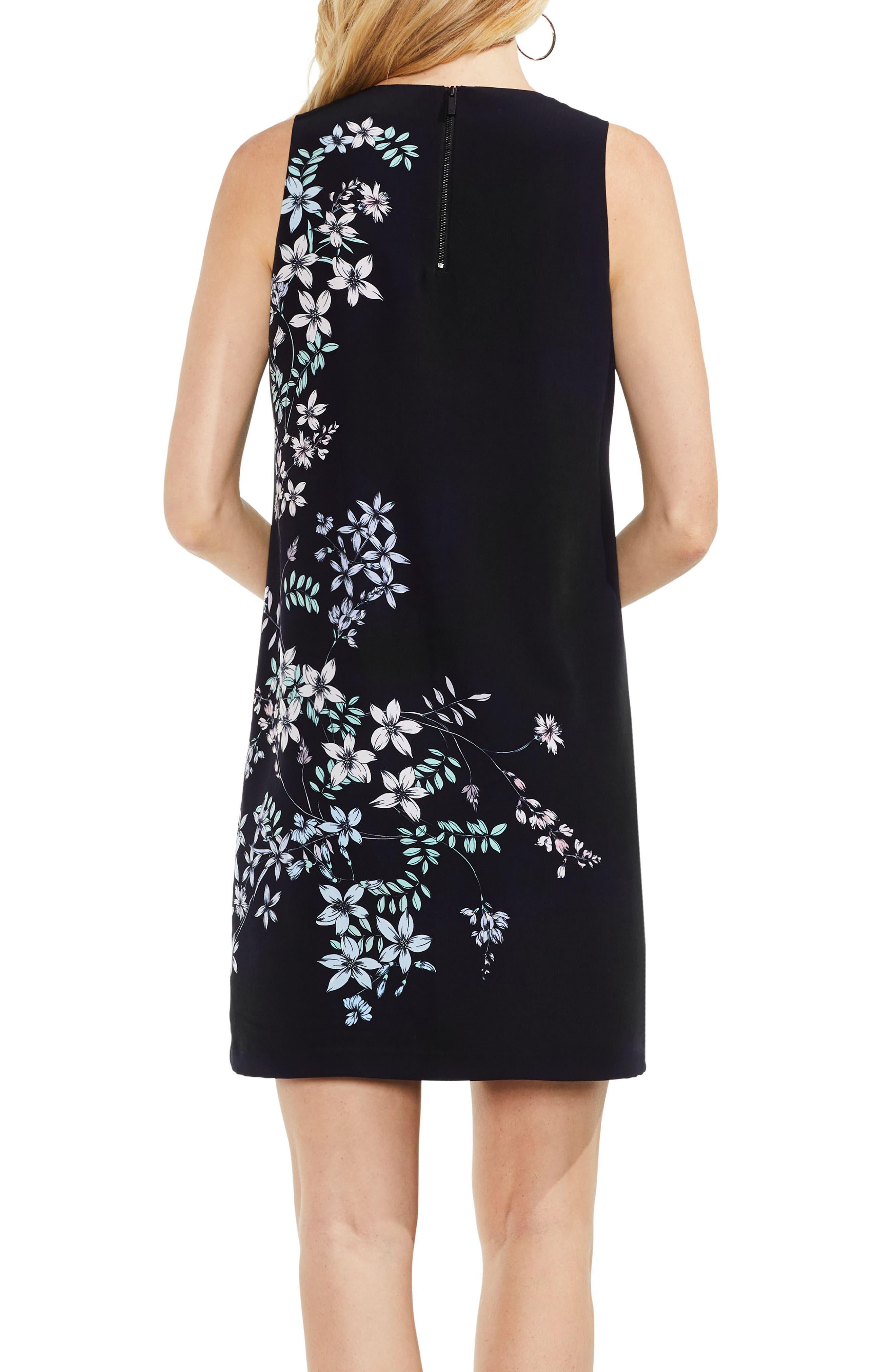 Floral Shift Dress,                             Alternate thumbnail 2, color,                             Rich Black