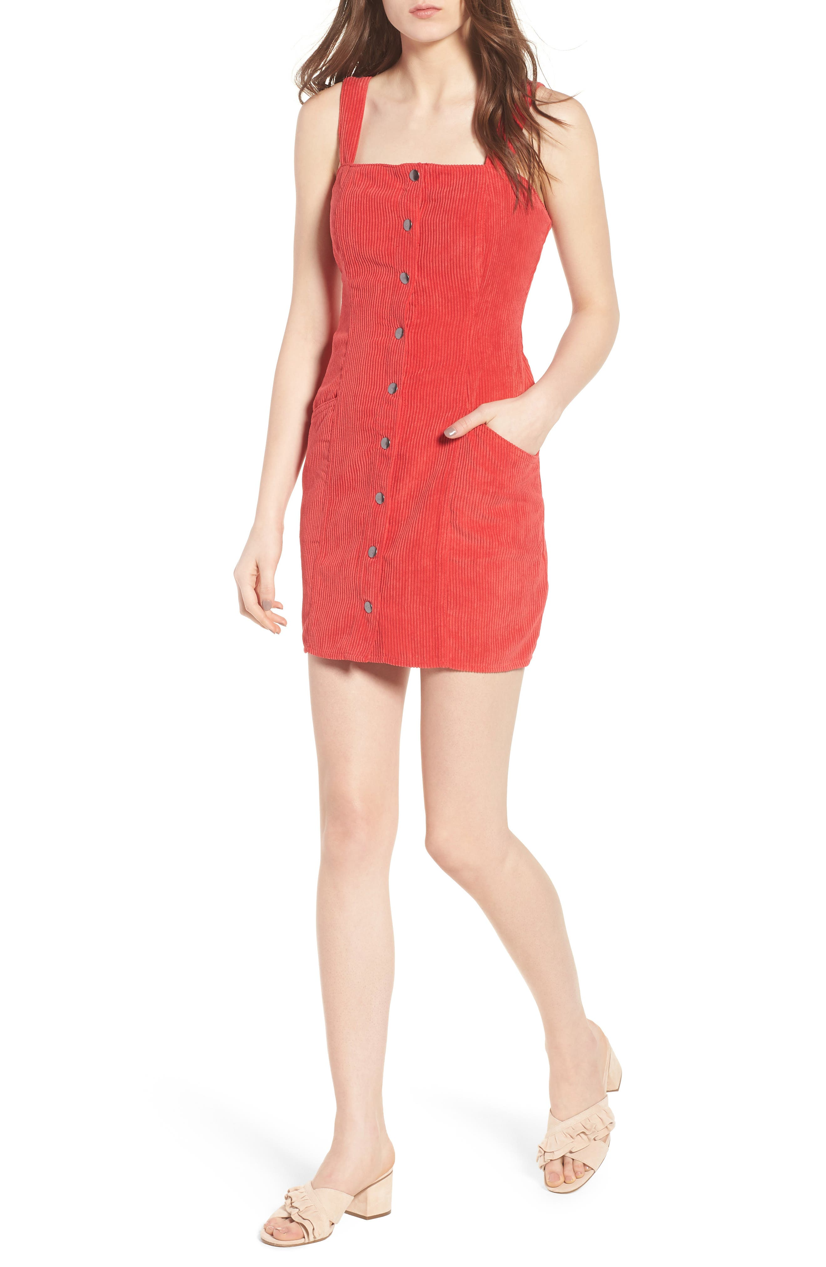 Button Front Corduroy Dress,                         Main,                         color, Red