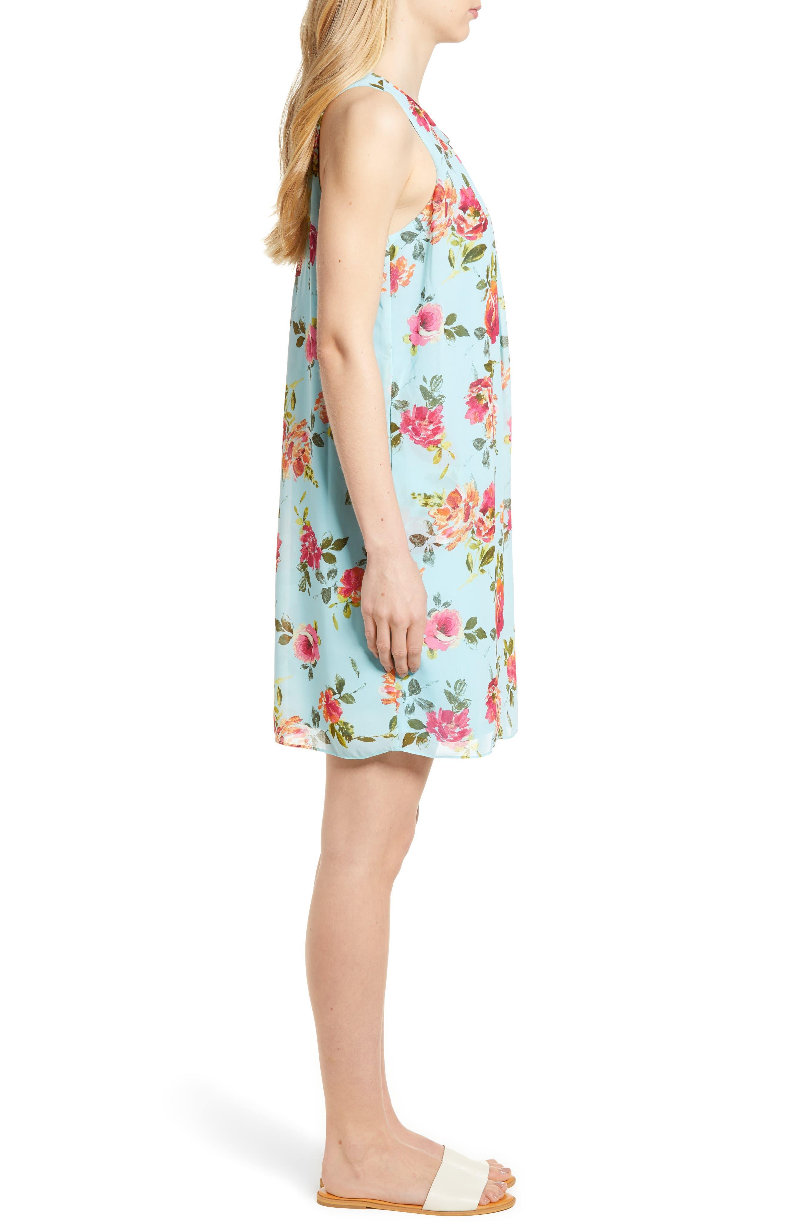 Sela Shift Floral Dress,                             Alternate thumbnail 3, color,                             Sky Blue