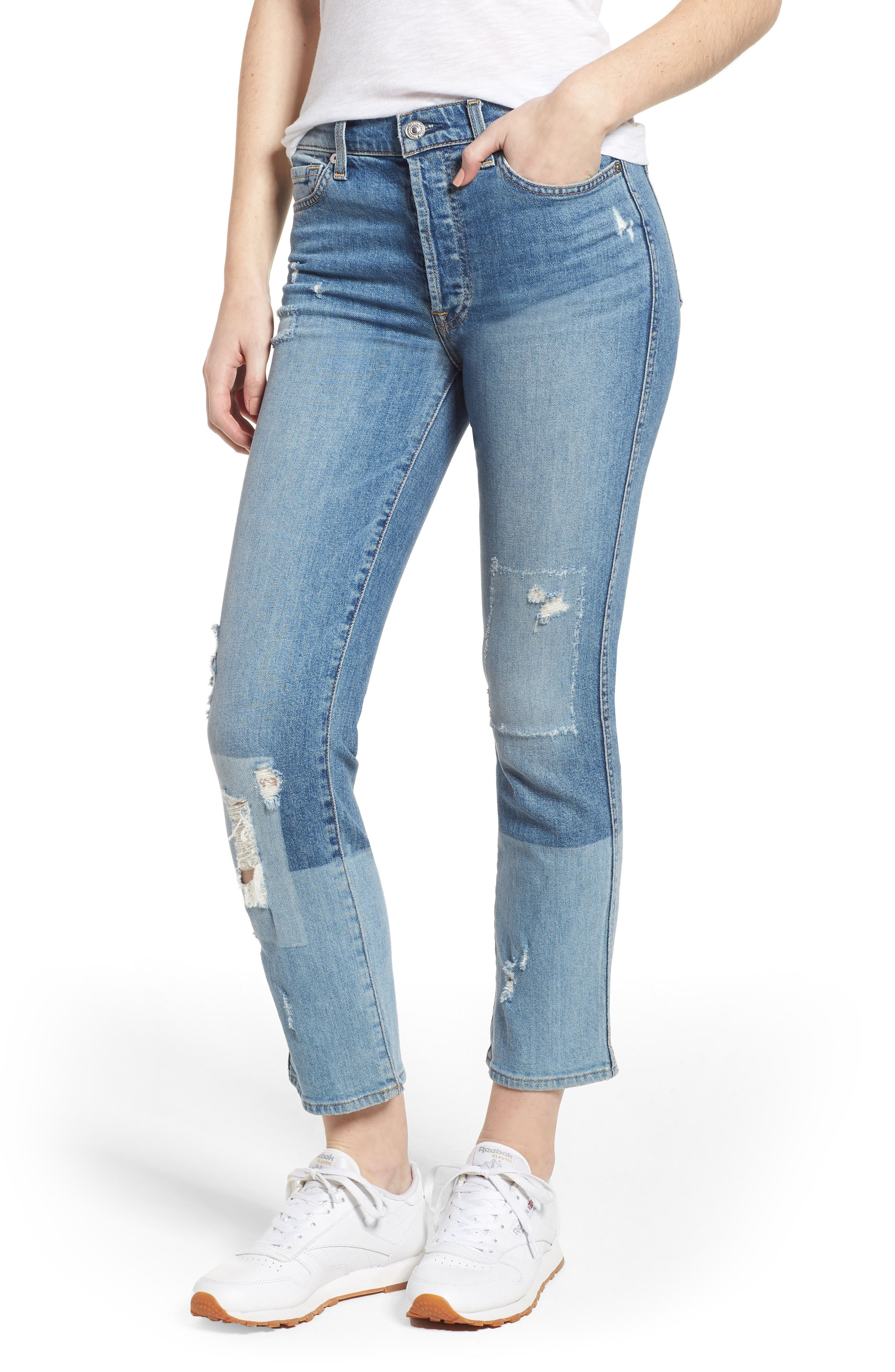 Edie High Waist Crop Straight Leg Jeans,                         Main,                         color, Laser Denim W/ Patches