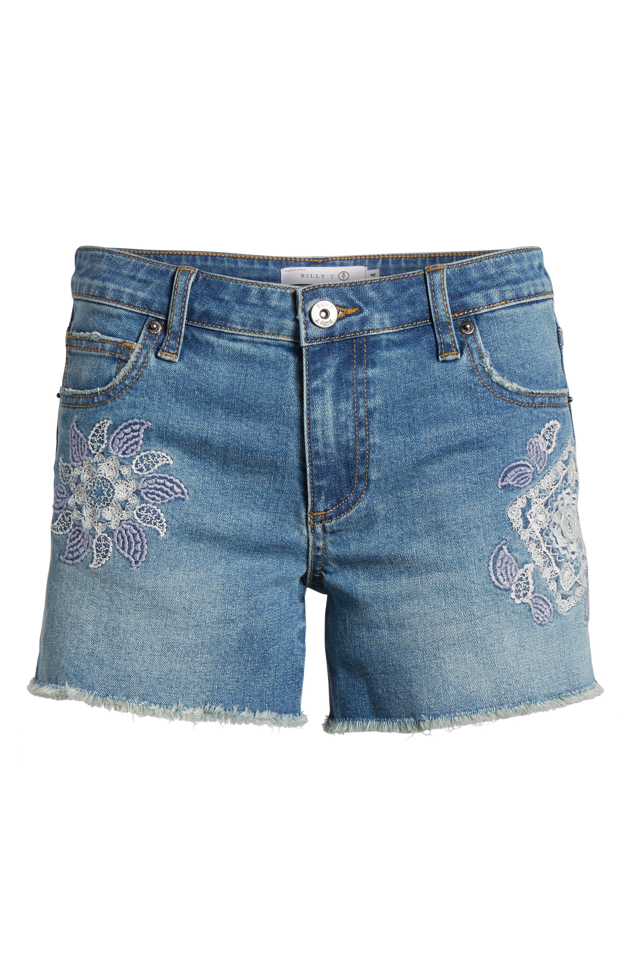 Embroidered Denim Shorts,                             Alternate thumbnail 7, color,                             Blue W/ Embroider