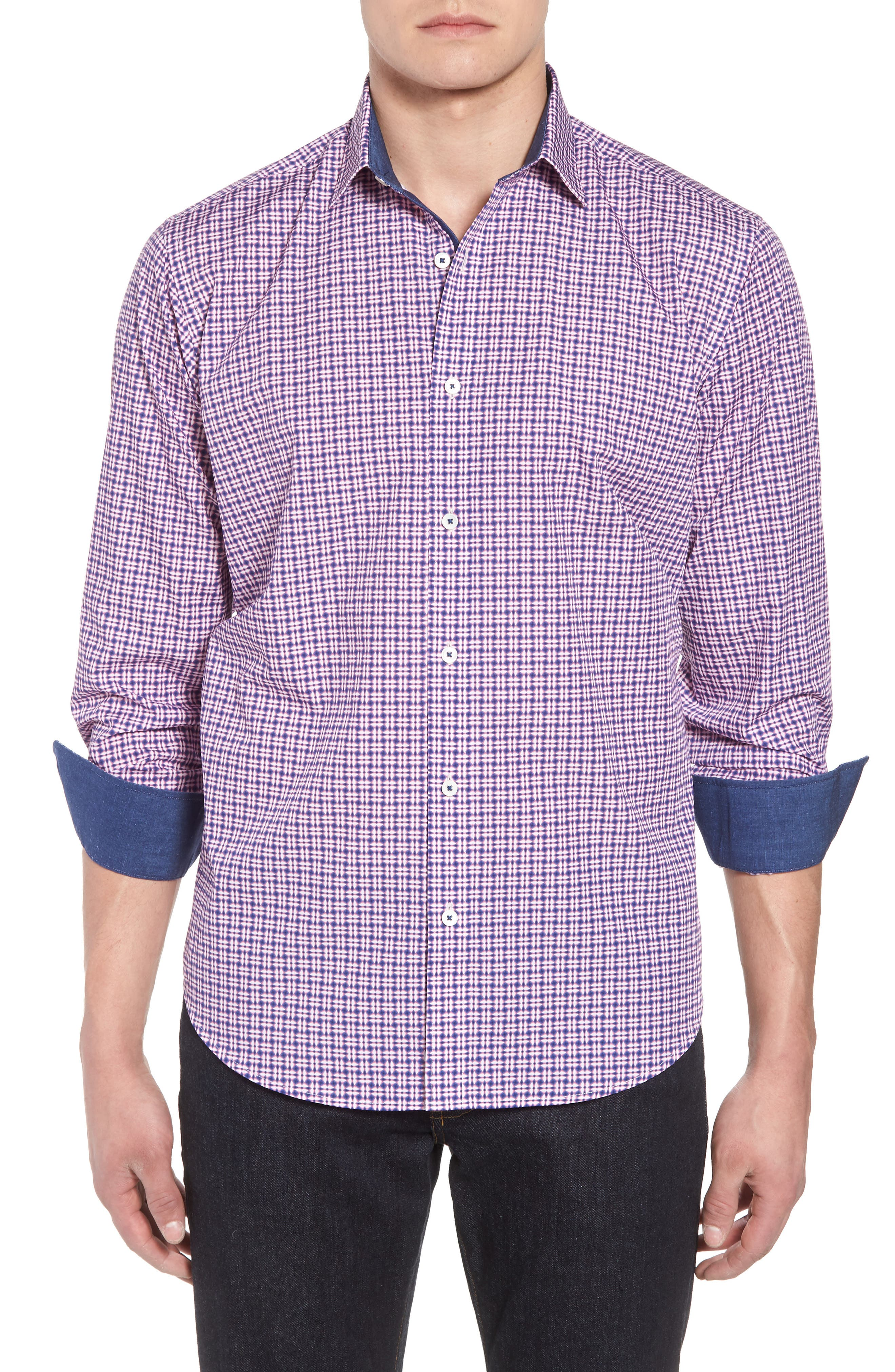 Classic Fit Woven Sport Shirt,                         Main,                         color, Pink