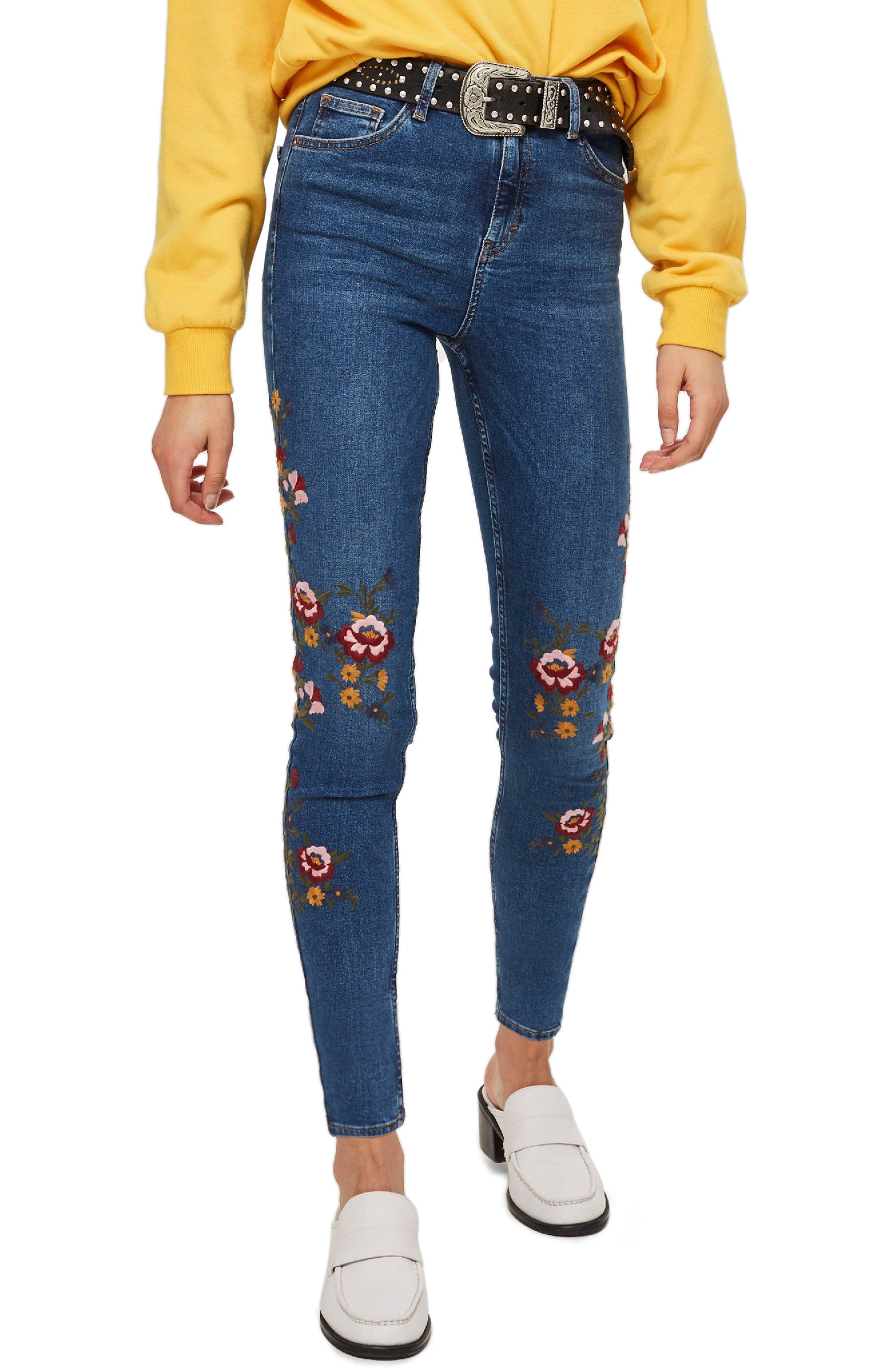 Jamie Ditsy Floral Jeans,                             Main thumbnail 1, color,                             Mid Denim Multi