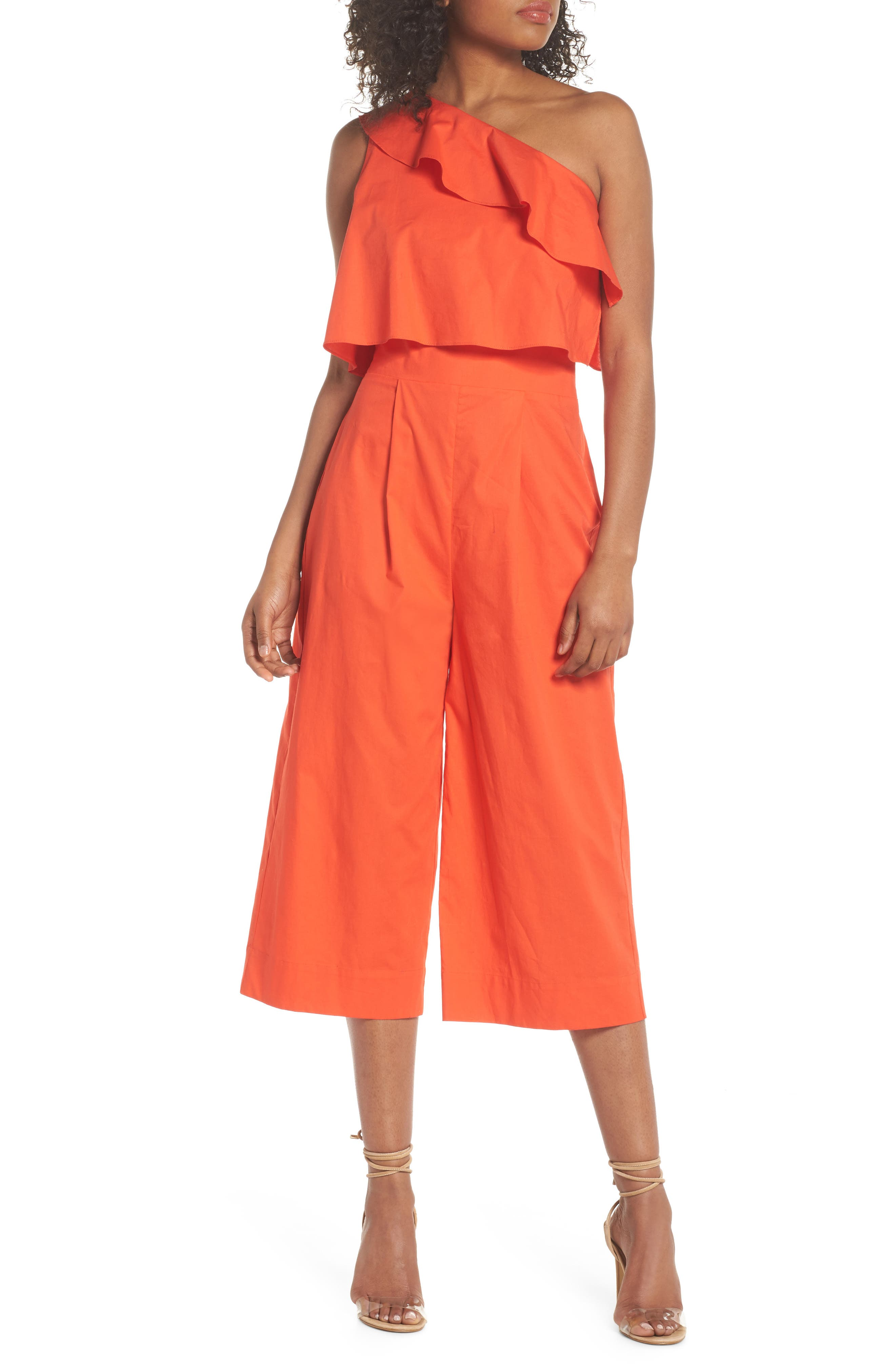 Ruffle One-Shoulder Crop Jumpsuit,                         Main,                         color, Blood Orange