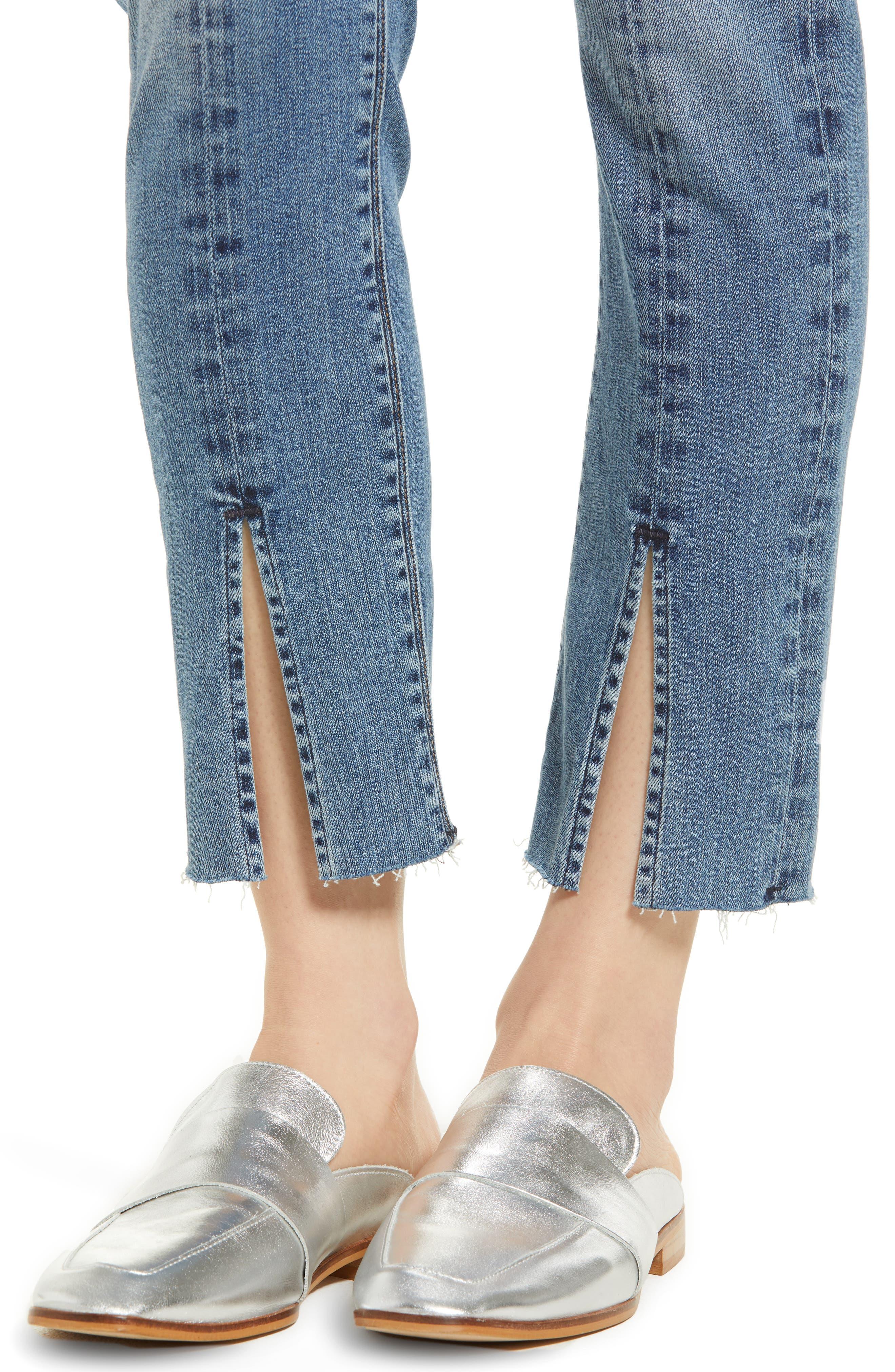 Nico Slit Hem Ankle Straight Leg Jeans,                             Alternate thumbnail 4, color,                             Moxie