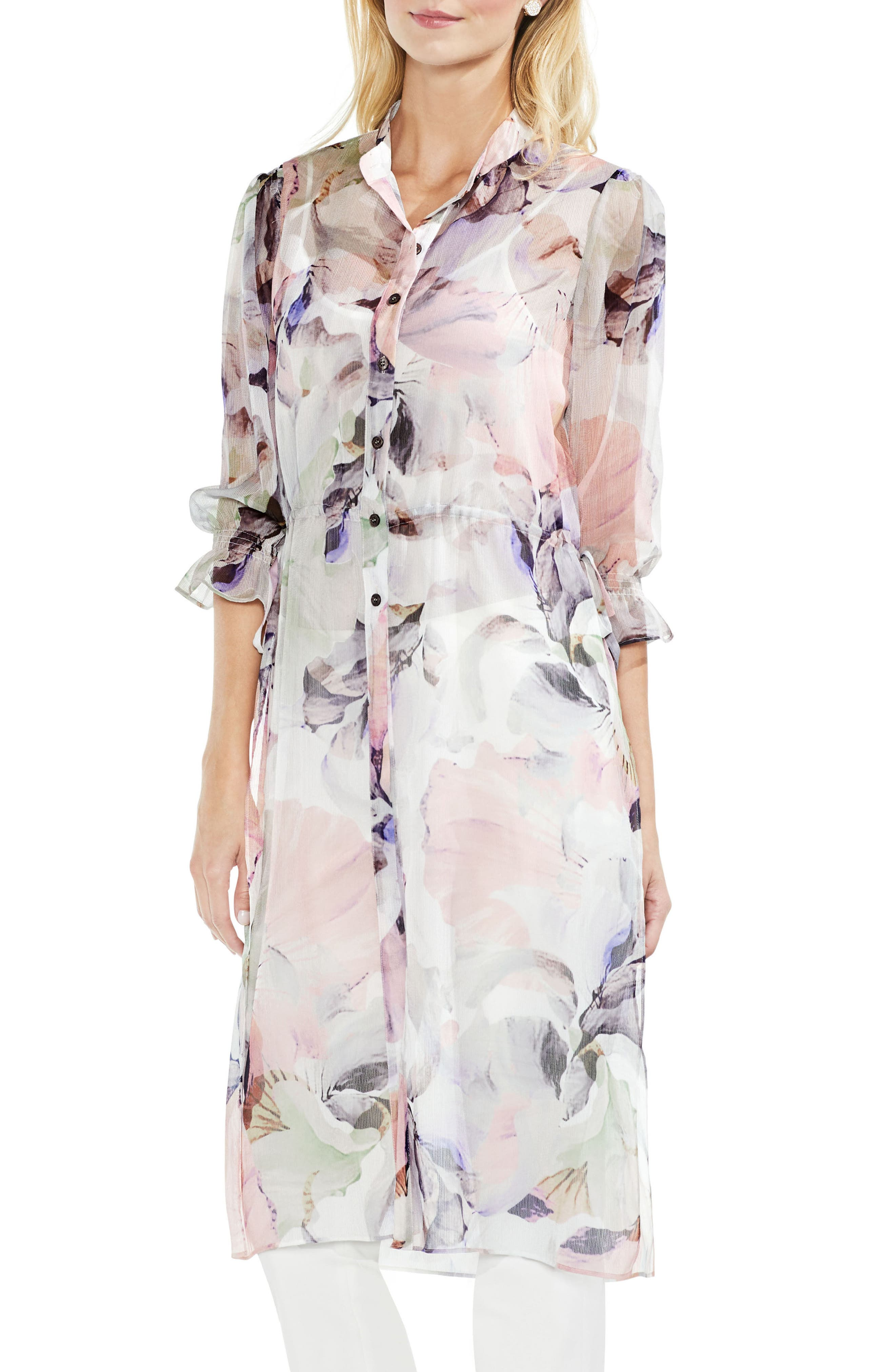 Vince Camuto Diffused Bloom Side Tie Tunic (Regular and Petite)