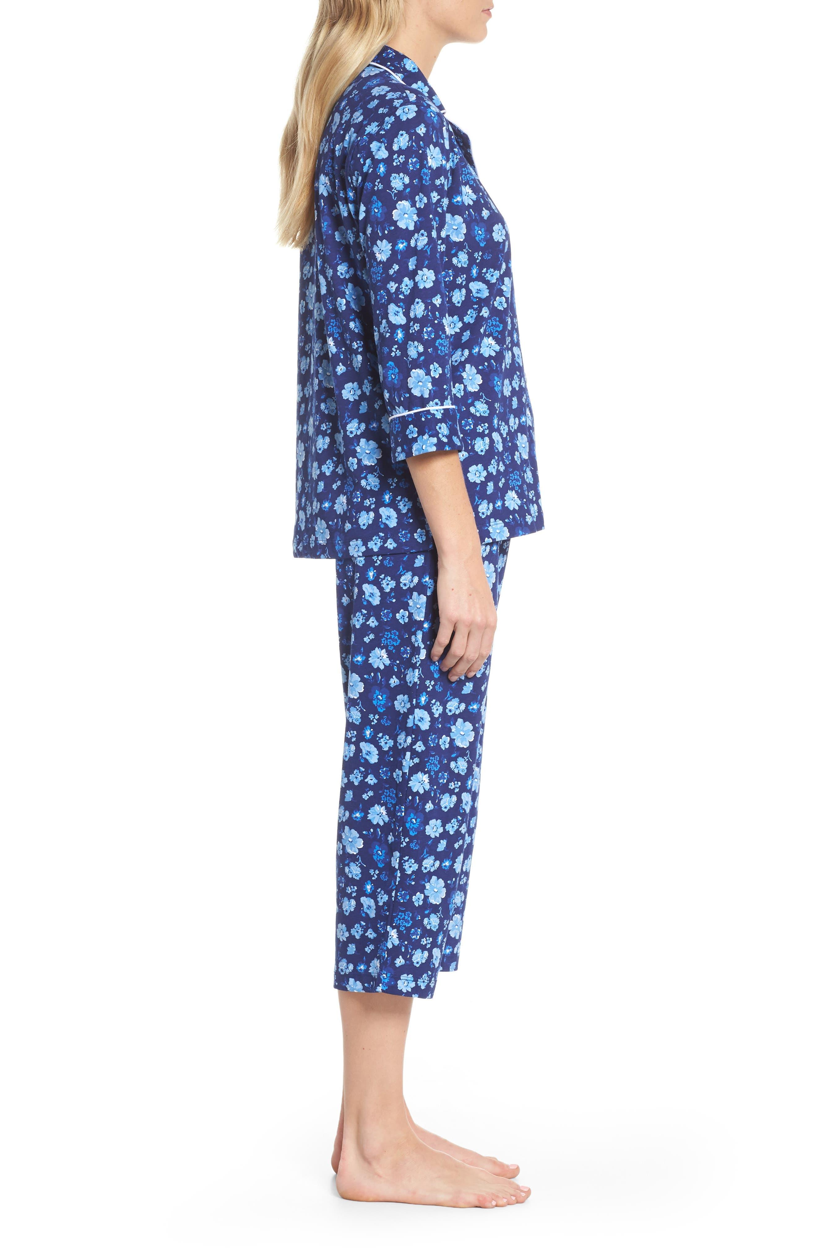 Cropped Pajamas,                             Alternate thumbnail 3, color,                             Blue Floral