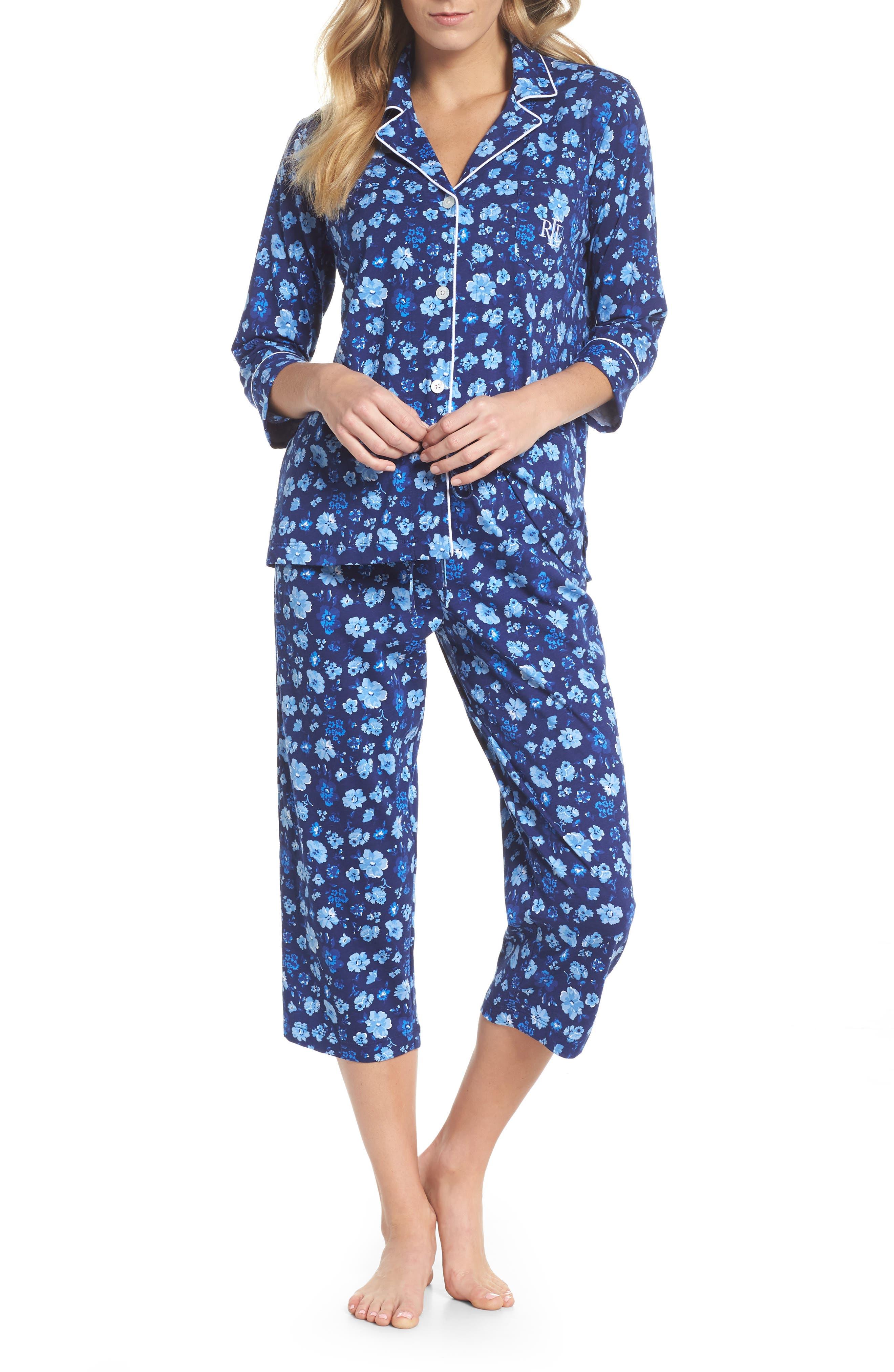 Cropped Pajamas,                             Main thumbnail 1, color,                             Blue Floral