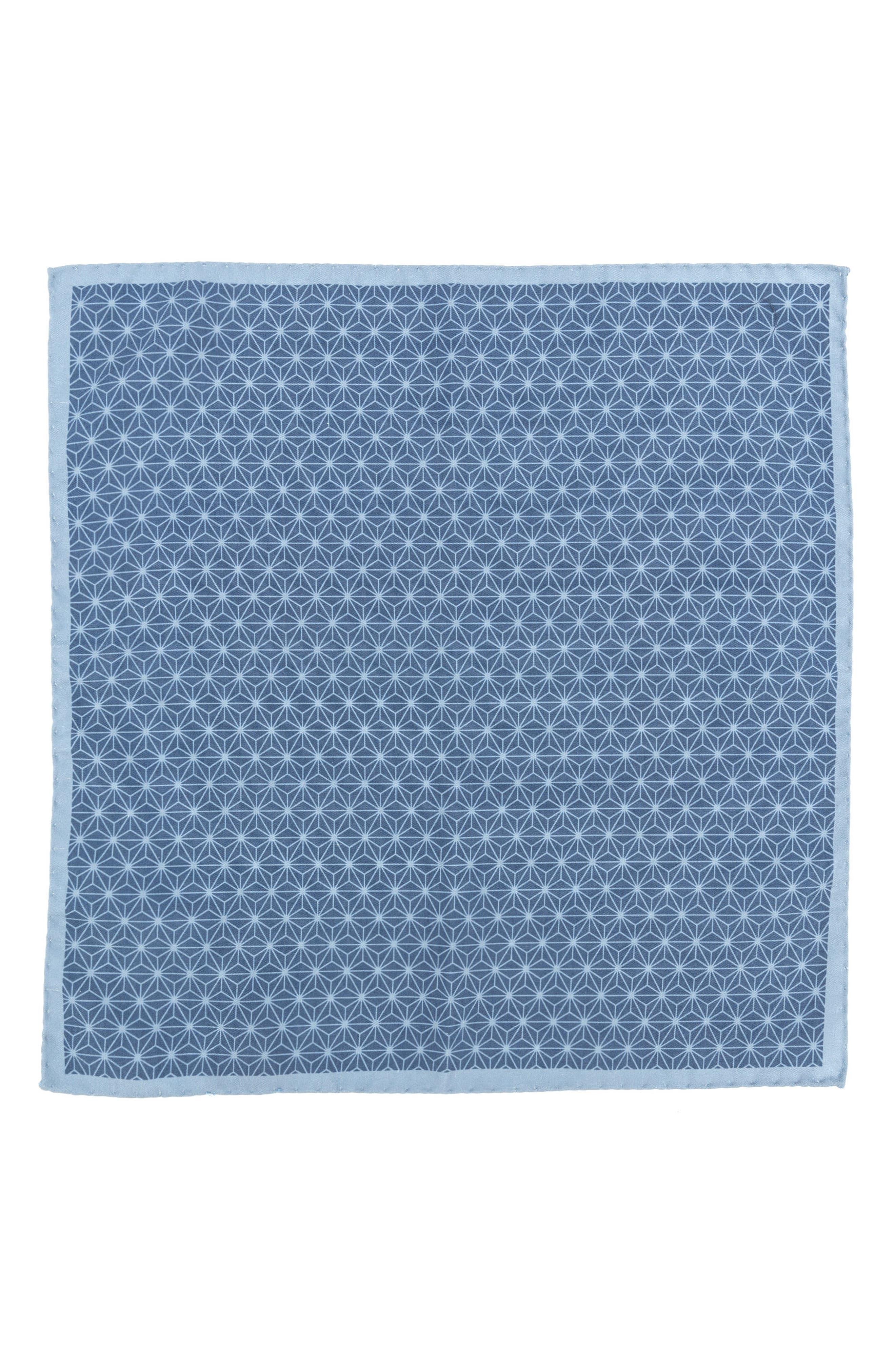 Starburst Geometric Silk Pocket Square,                             Alternate thumbnail 2, color,                             Light Blue