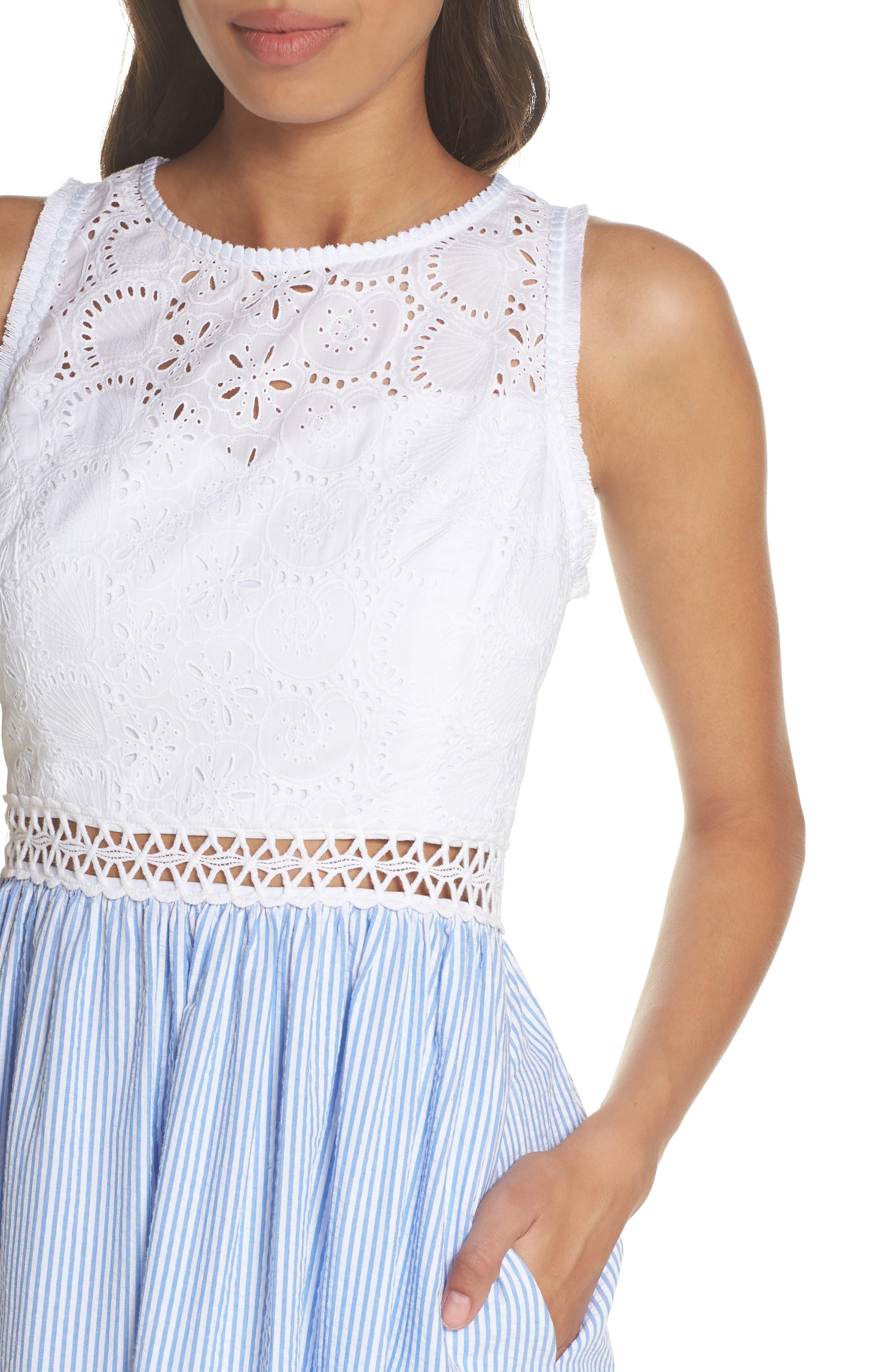 Lilly Pullitzer<sup>®</sup> Alivia Eyelet & Seersucker Fit & Flare Dress,                             Alternate thumbnail 4, color,                             Bennet Blue Yard Dyed Stripe