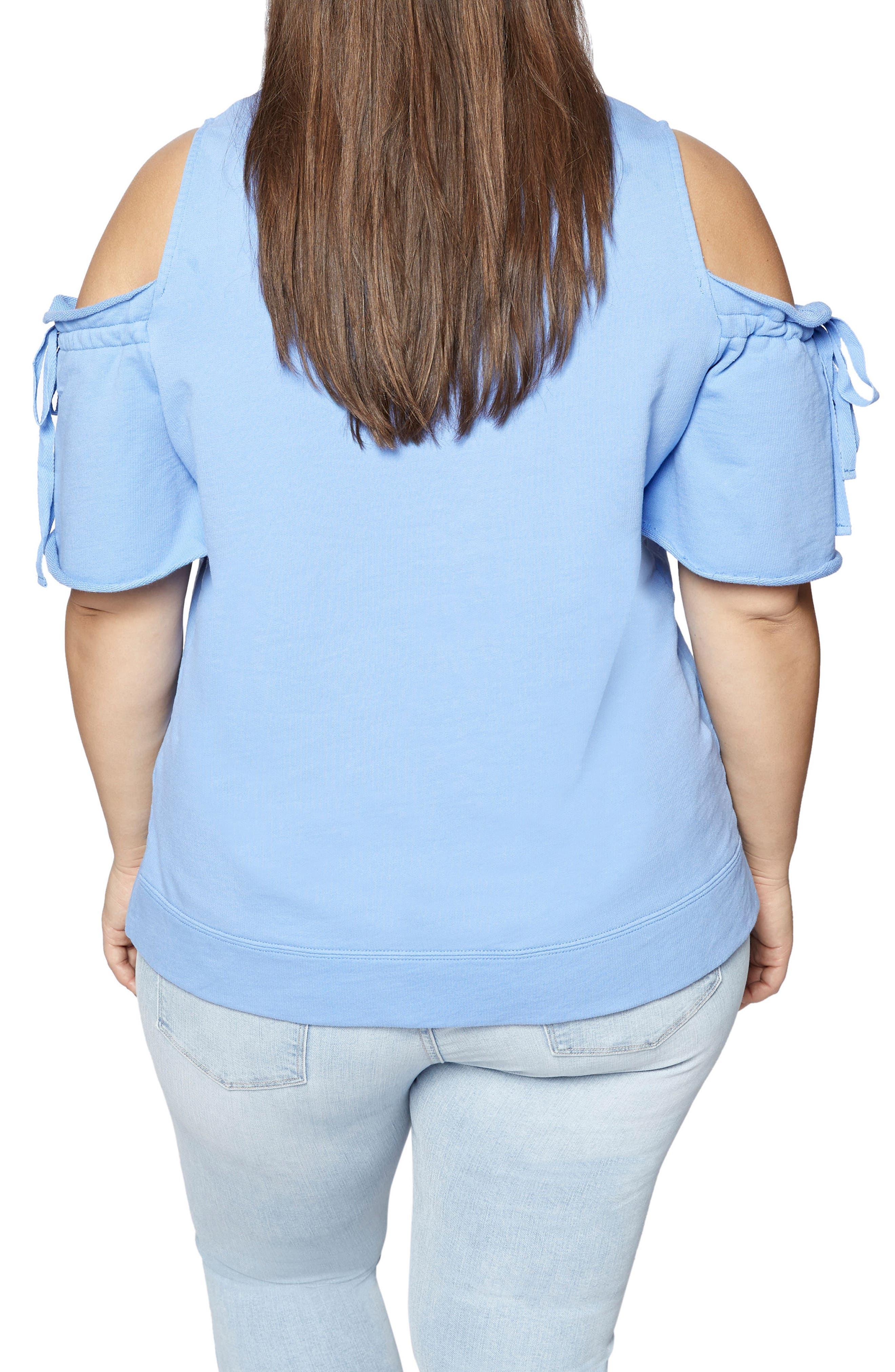 Alternate Image 2  - Sanctuary Crosby Cold Shoulder Sweatshirt (Plus Size)