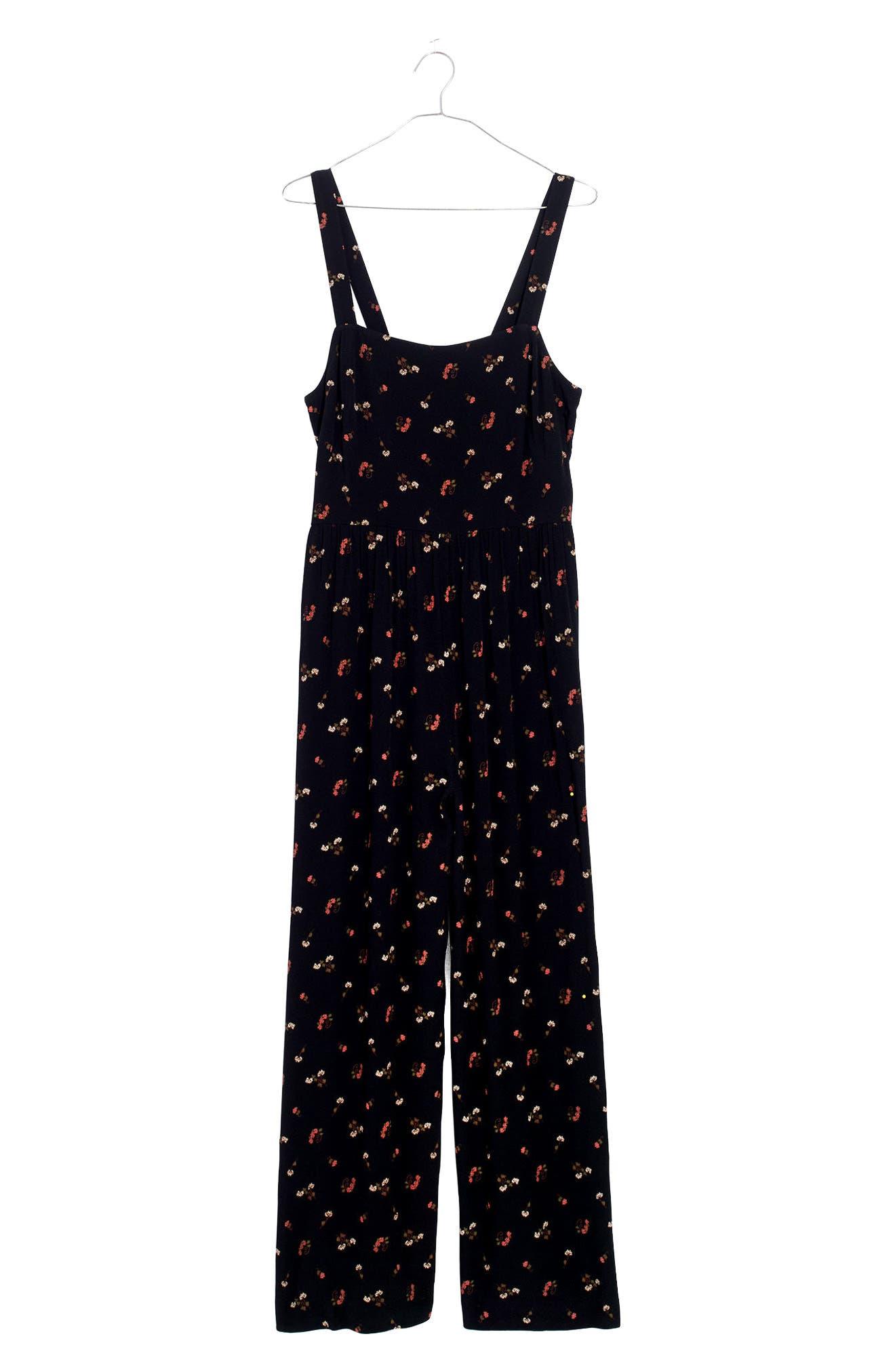 Alternate Image 3  - Madewell Flower Toss Smocked Crop Jumpsuit