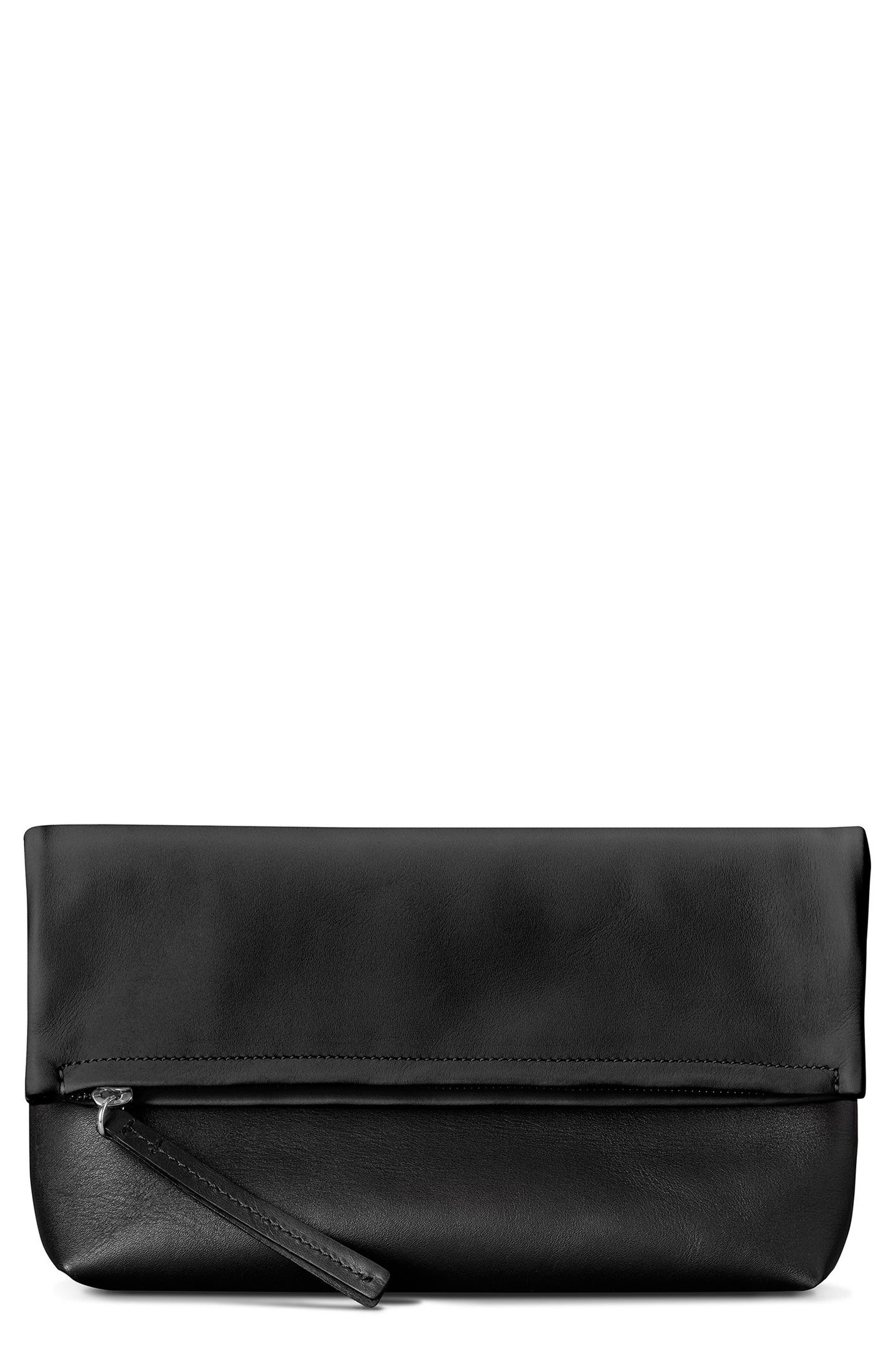 Birdy Leather Foldover Clutch,                             Main thumbnail 1, color,                             Black
