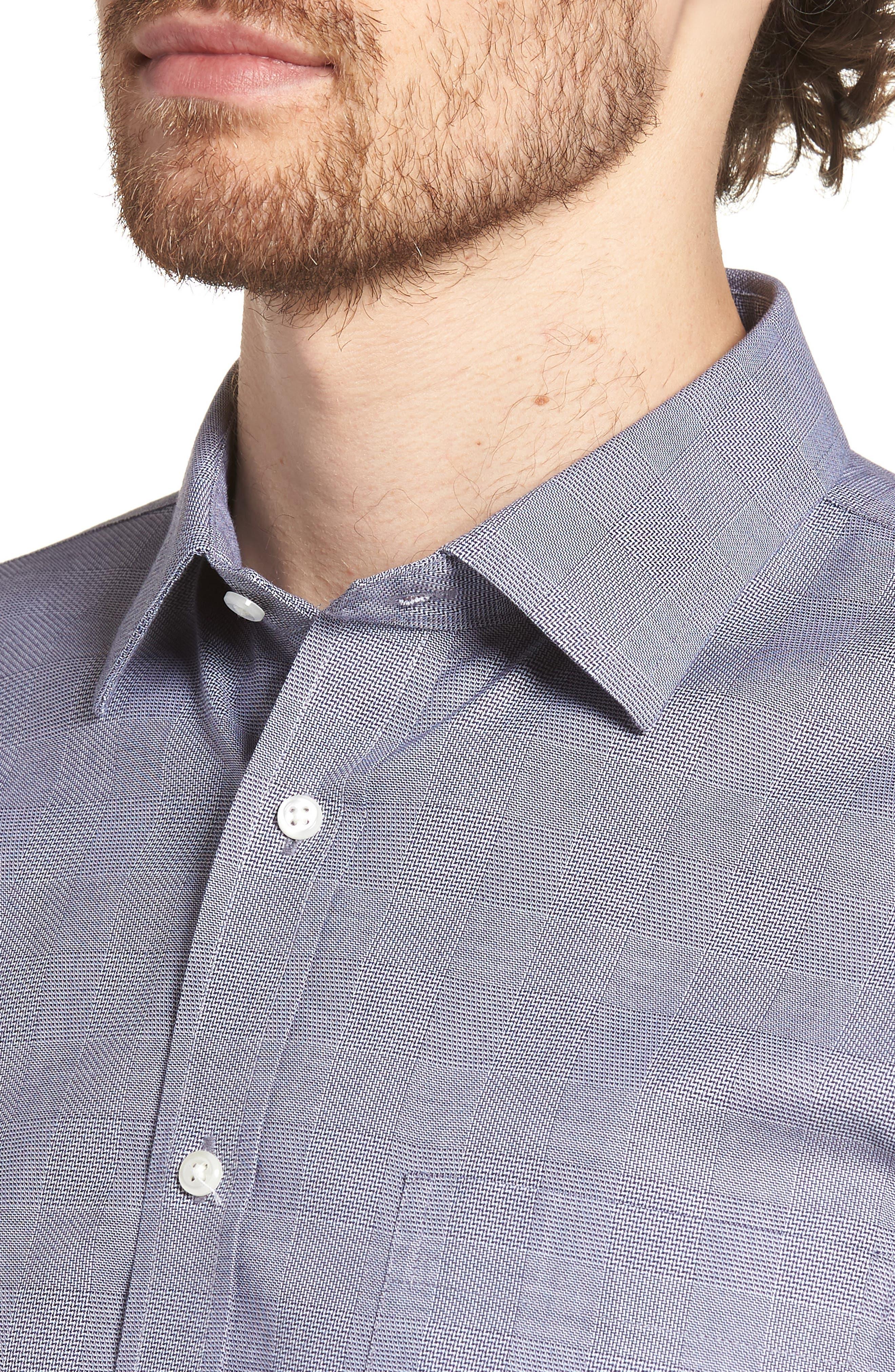 Smartcare<sup>™</sup> Trim Fit Plaid Dress Shirt,                             Alternate thumbnail 2, color,                             Grey Grisaille