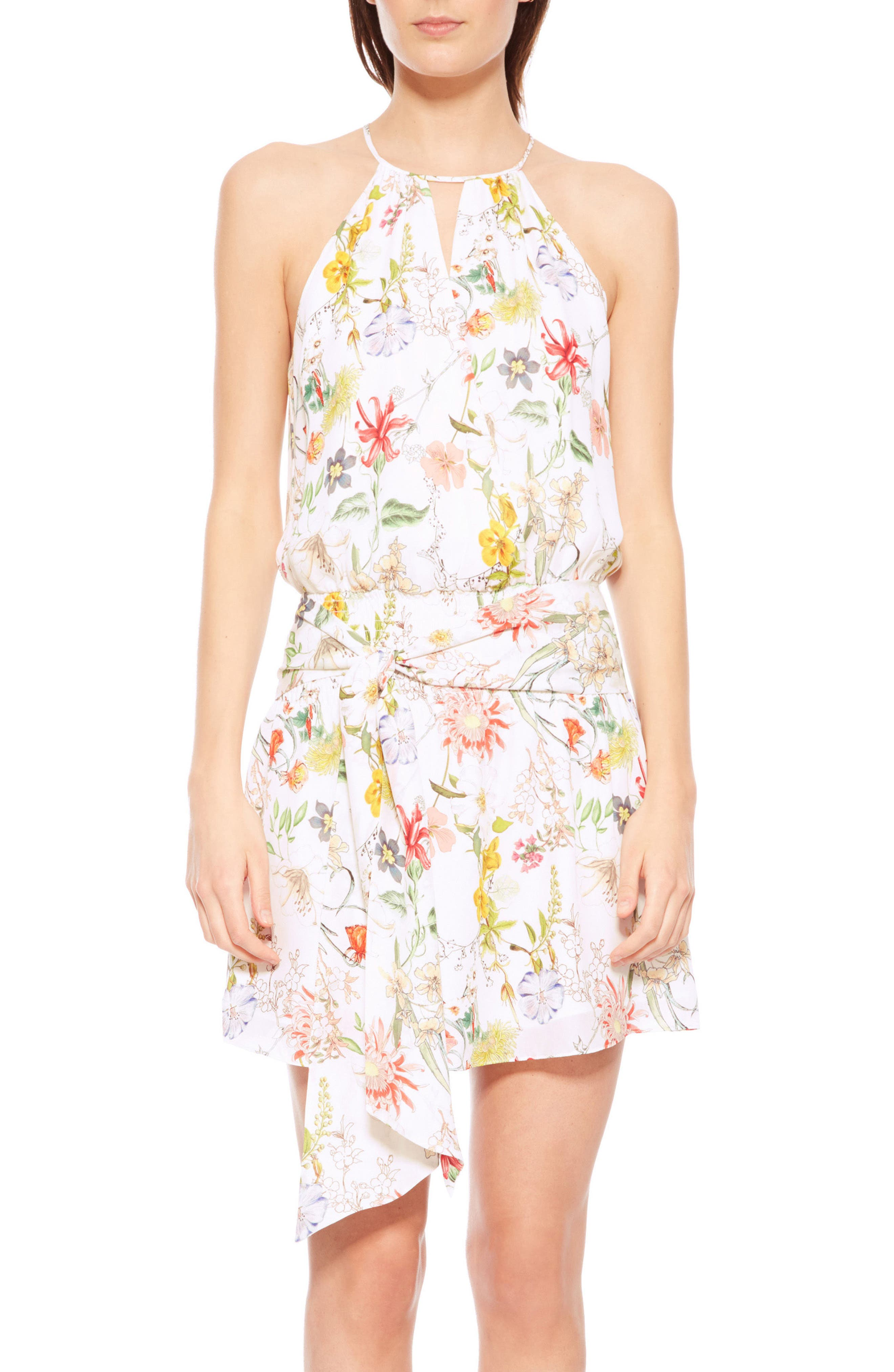 Larissa Floral Silk Dress,                             Main thumbnail 1, color,                             Sangria