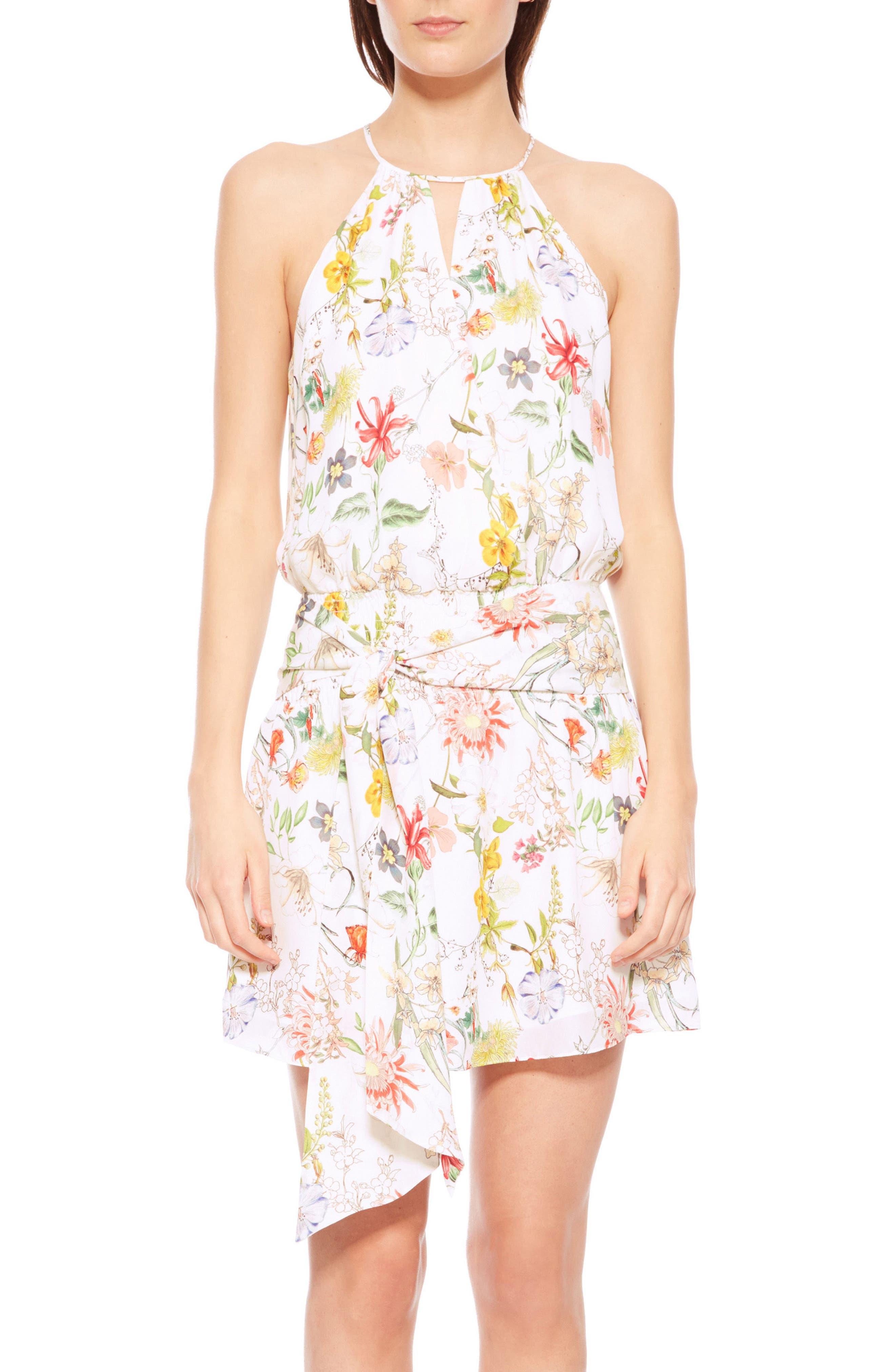 Larissa Floral Silk Dress,                         Main,                         color, Sangria