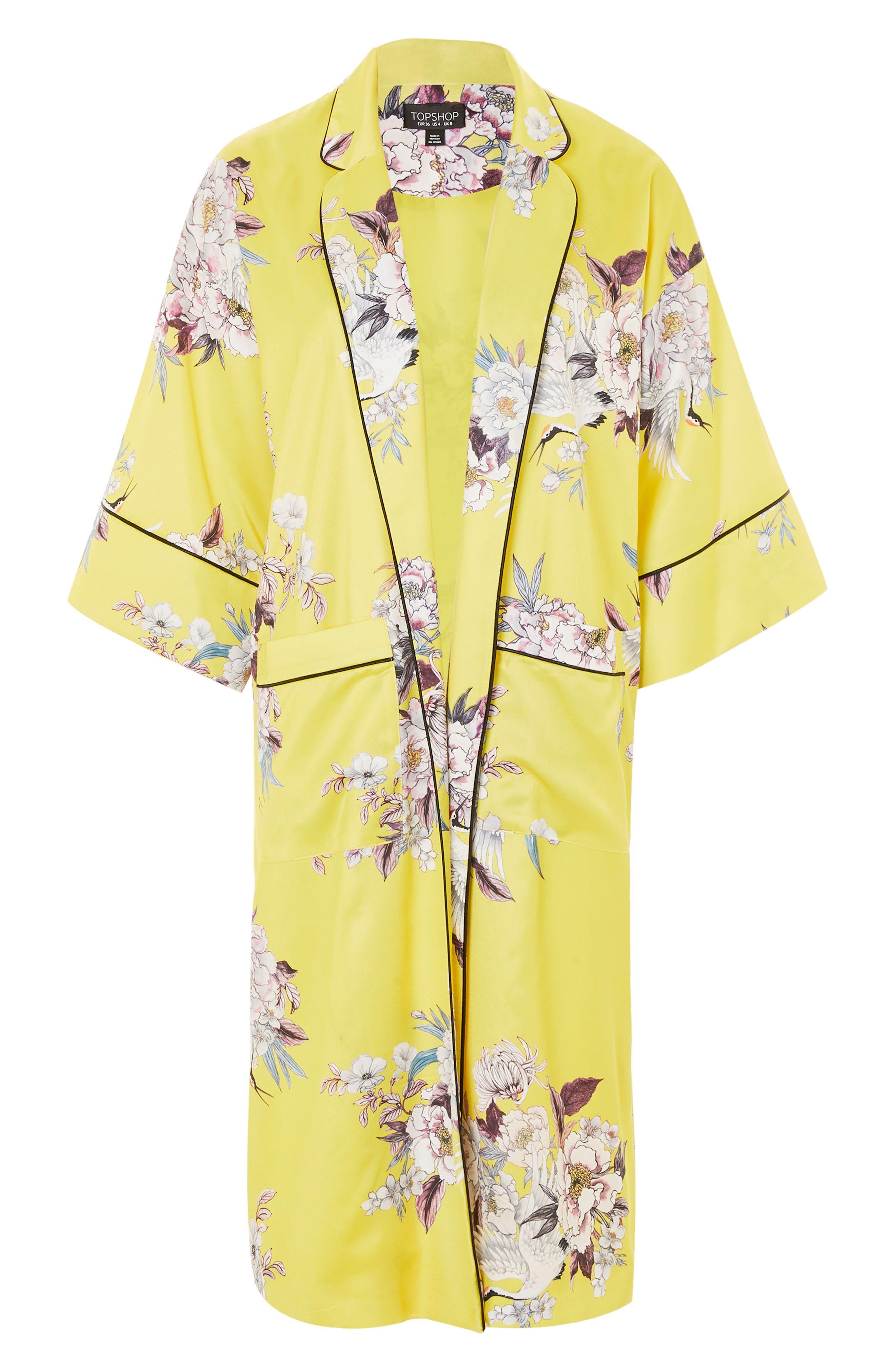 Heron Print Kimono,                             Alternate thumbnail 4, color,                             Yellow Multi