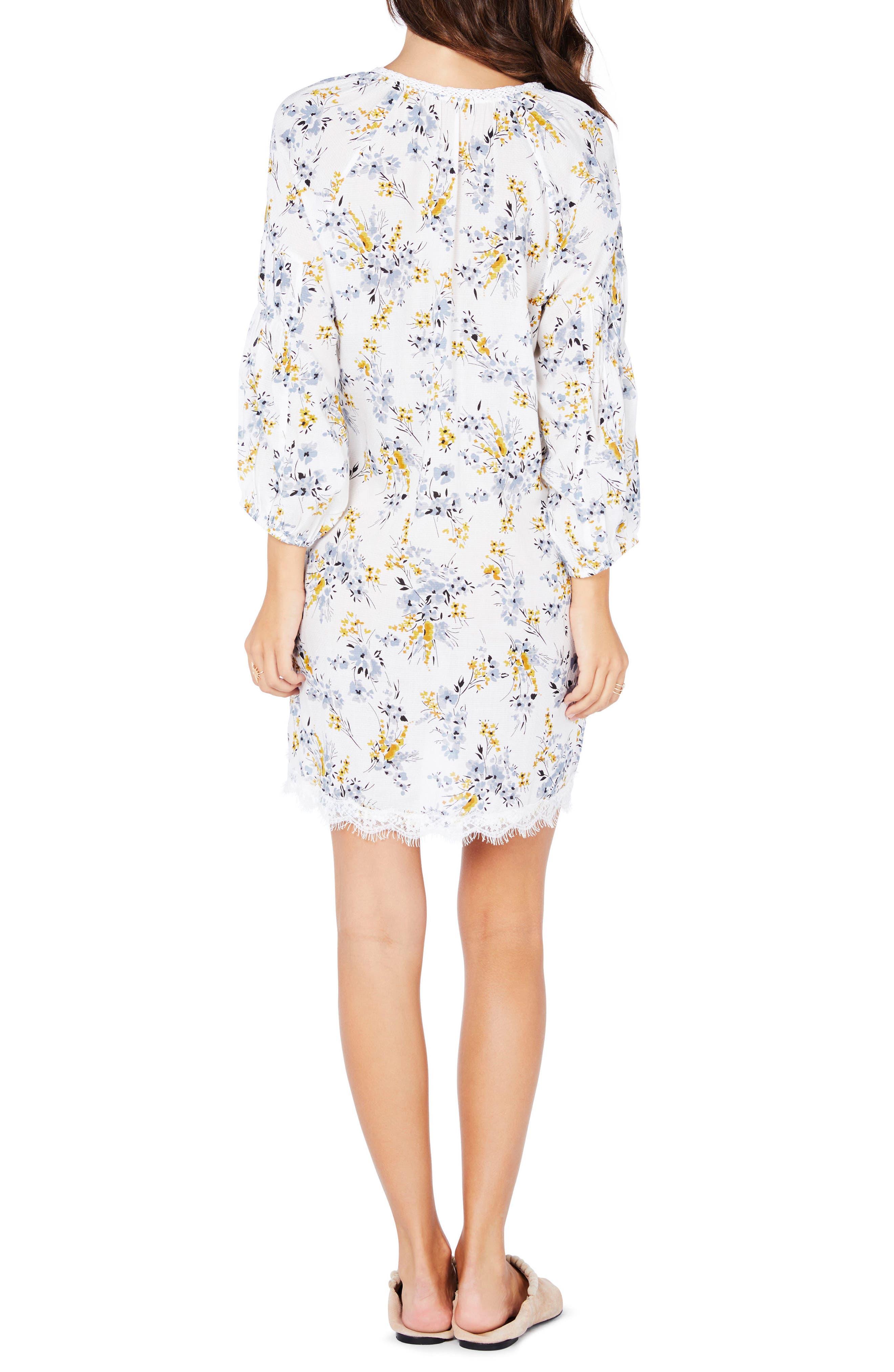 Floral Lace Trim Peasant Dress,                             Alternate thumbnail 2, color,                             Dandelion