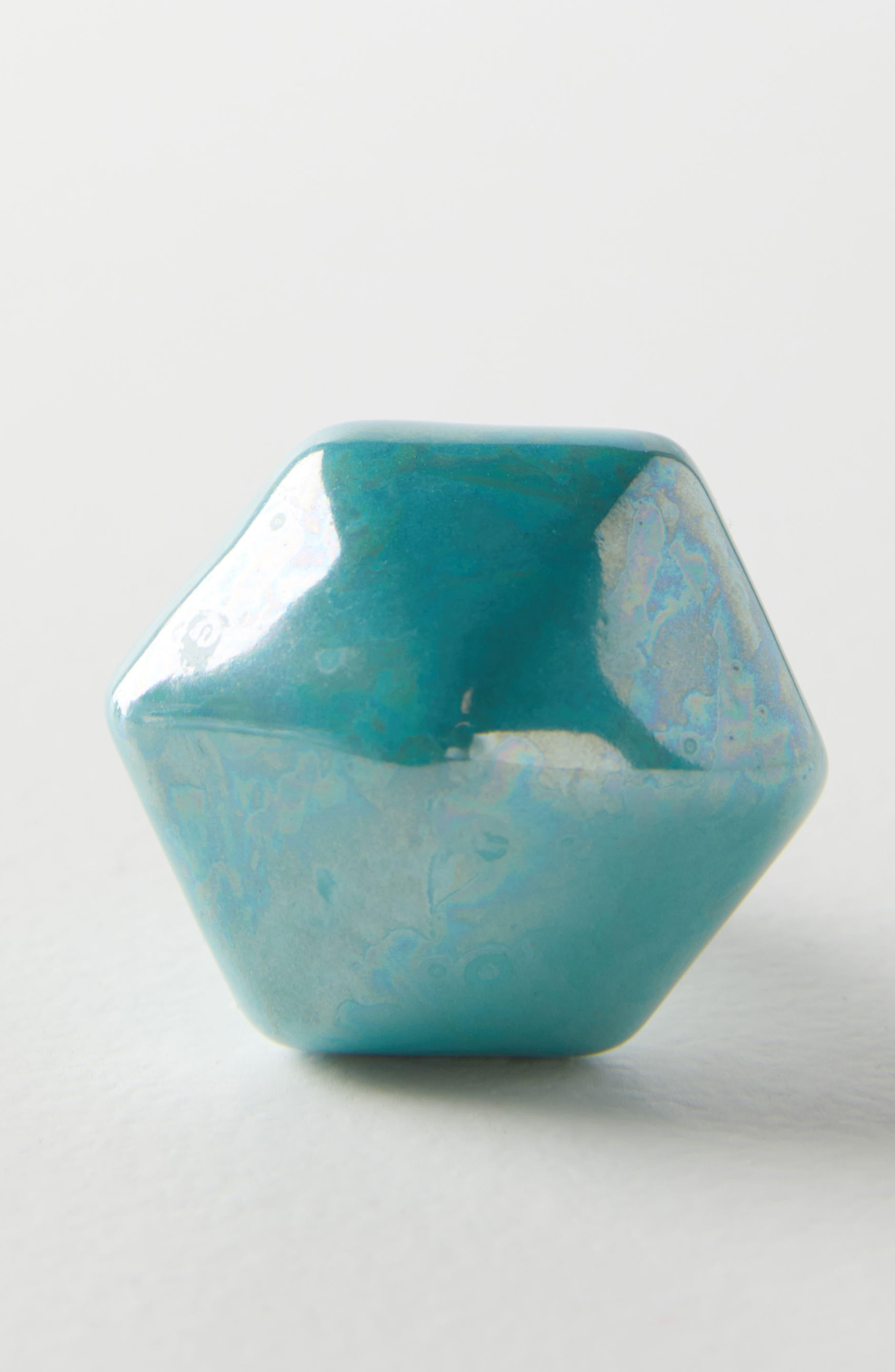 Luna Ceramic Knob,                             Alternate thumbnail 3, color,                             Turquoise