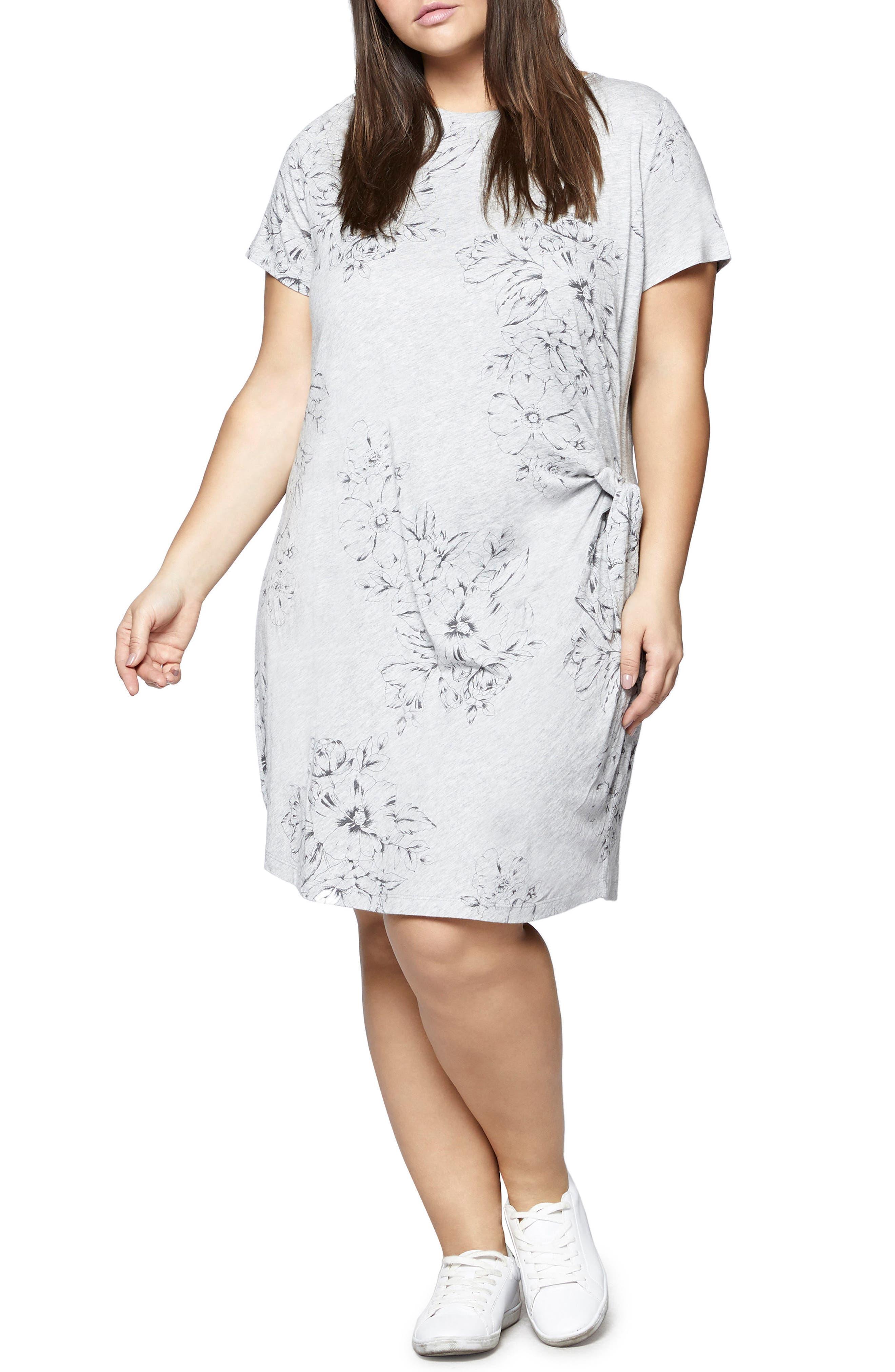 Wrapsody Print T-Shirt Dress,                         Main,                         color, Heather Grey