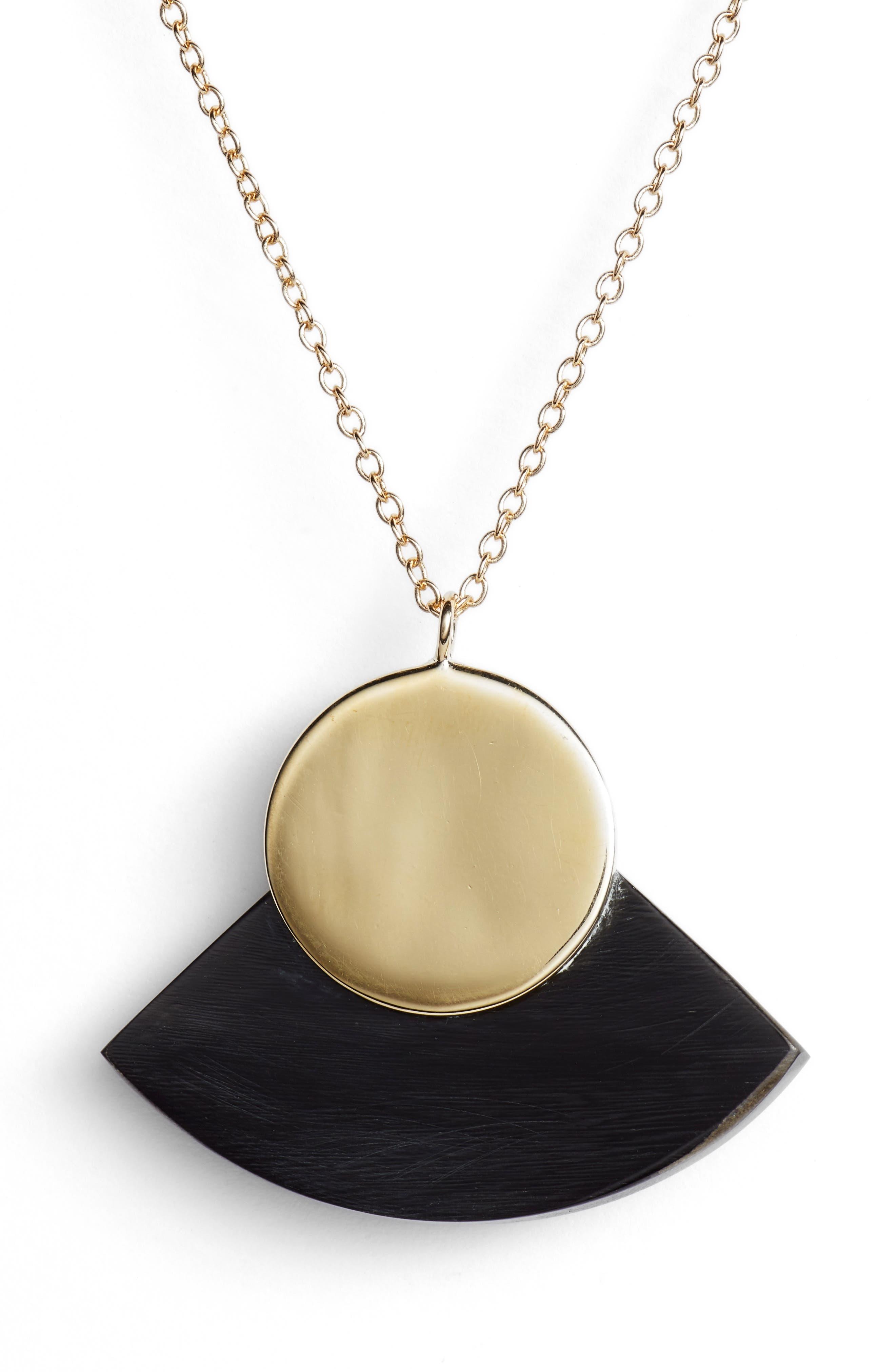 Horn Paddle Pendant Necklace,                             Alternate thumbnail 2, color,                             Black/ Brass