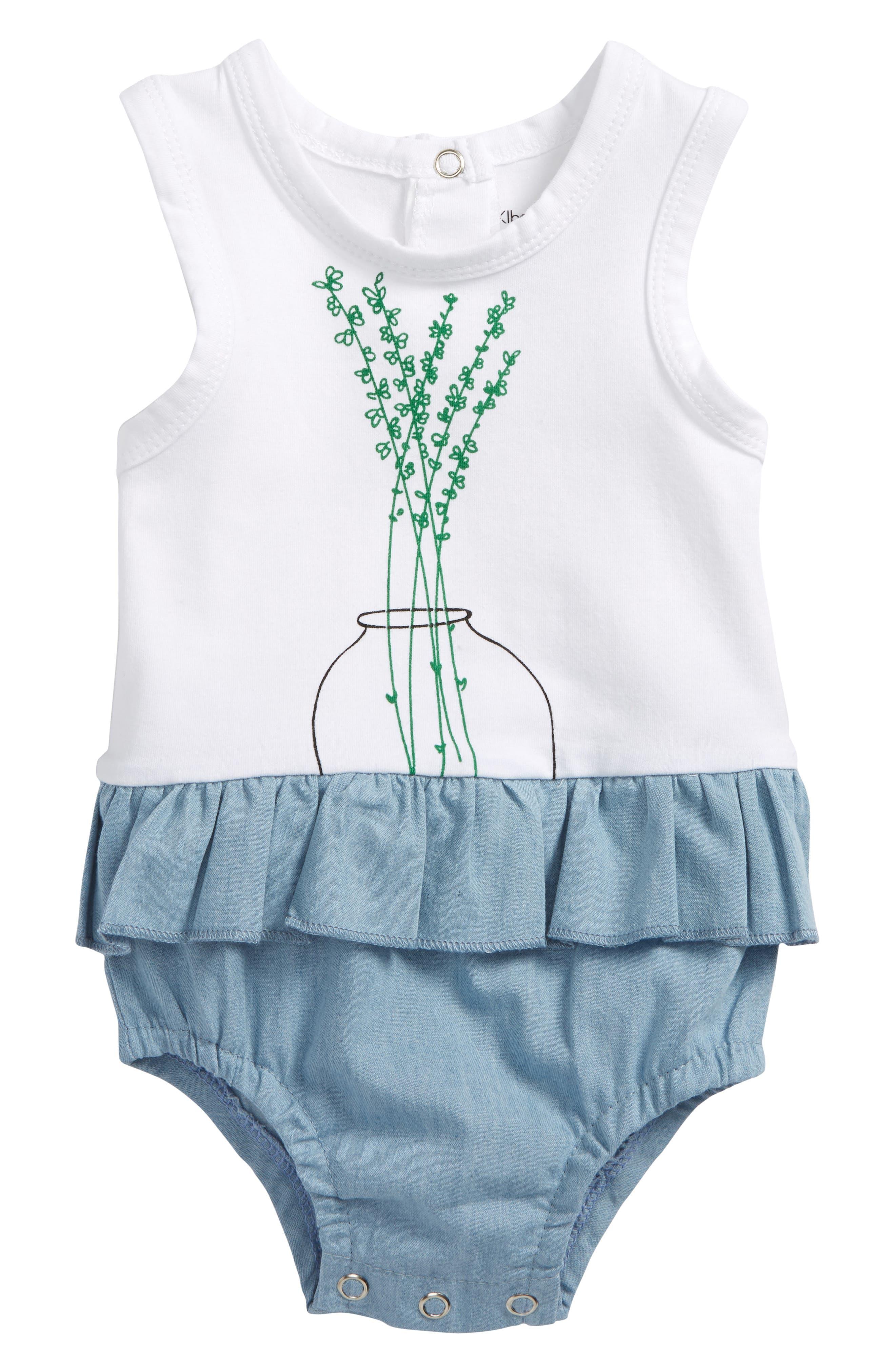Petit Flower Skirted Bodysuit,                             Main thumbnail 1, color,                             White/ Chambray